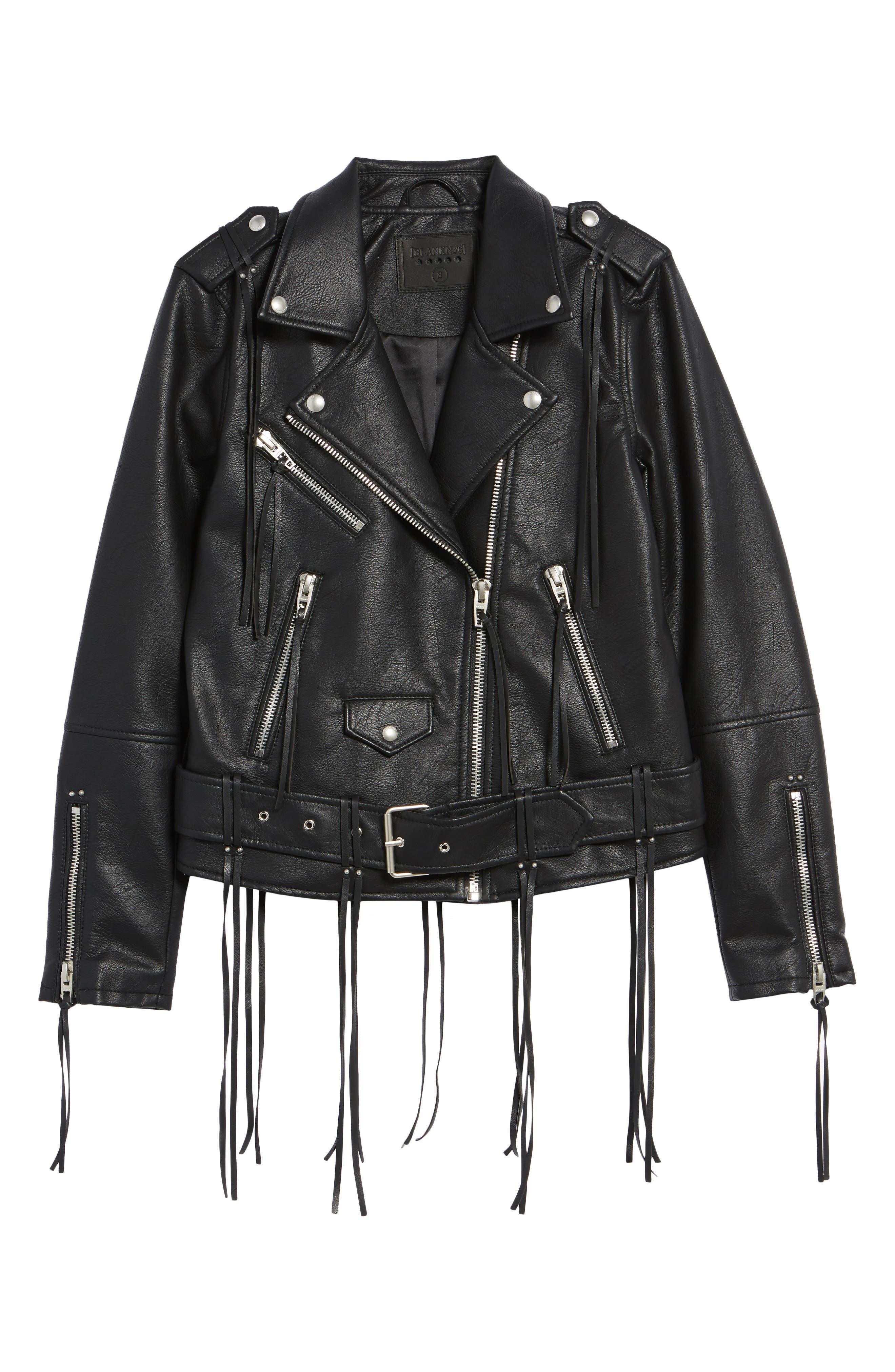 Faux Leather Tassel Moto Jacket,                             Alternate thumbnail 5, color,                             001