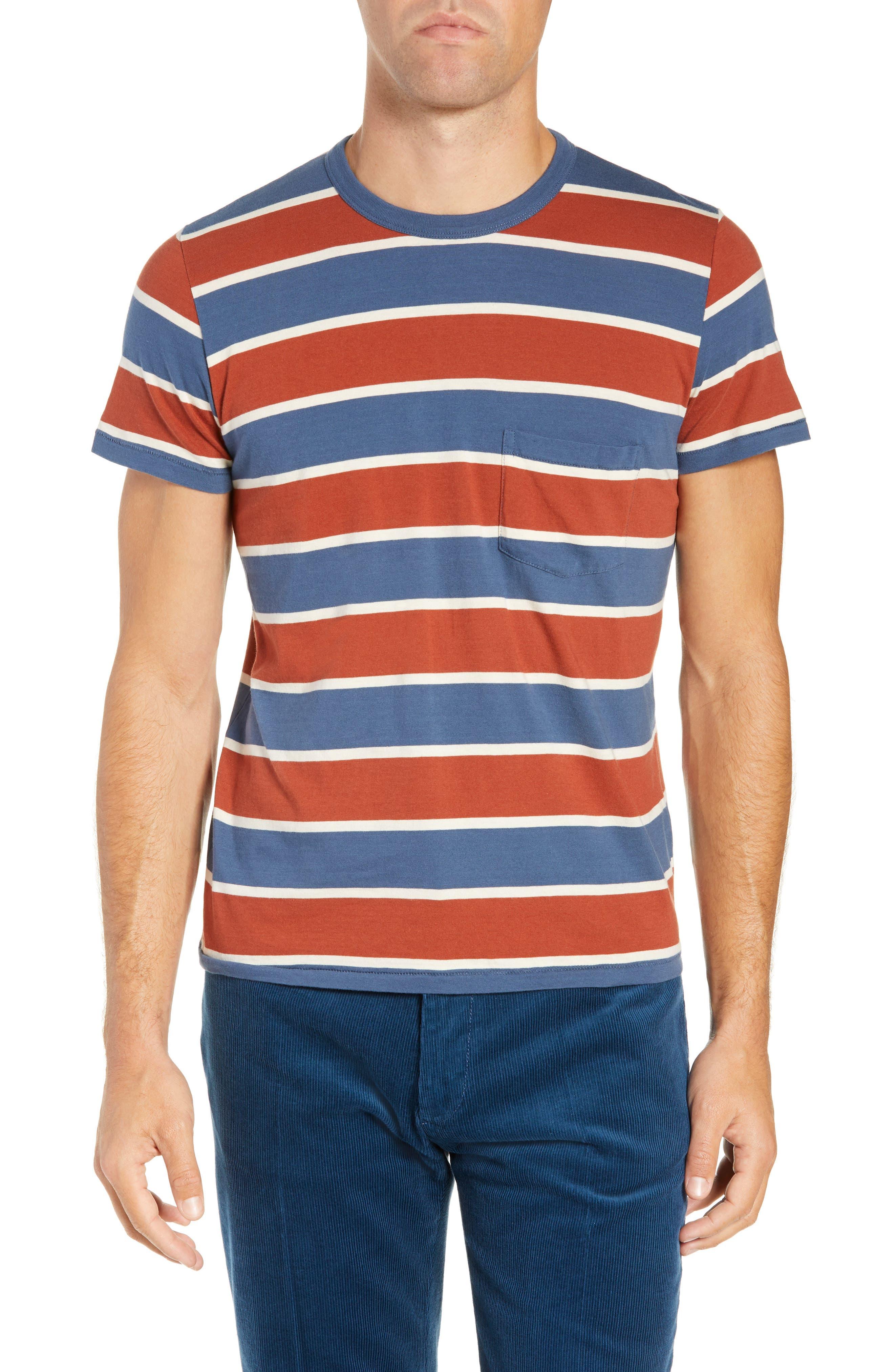 1960s Slim Fit Stripe T-Shirt,                             Main thumbnail 1, color,                             DARK DENIM MULTI STRIPE