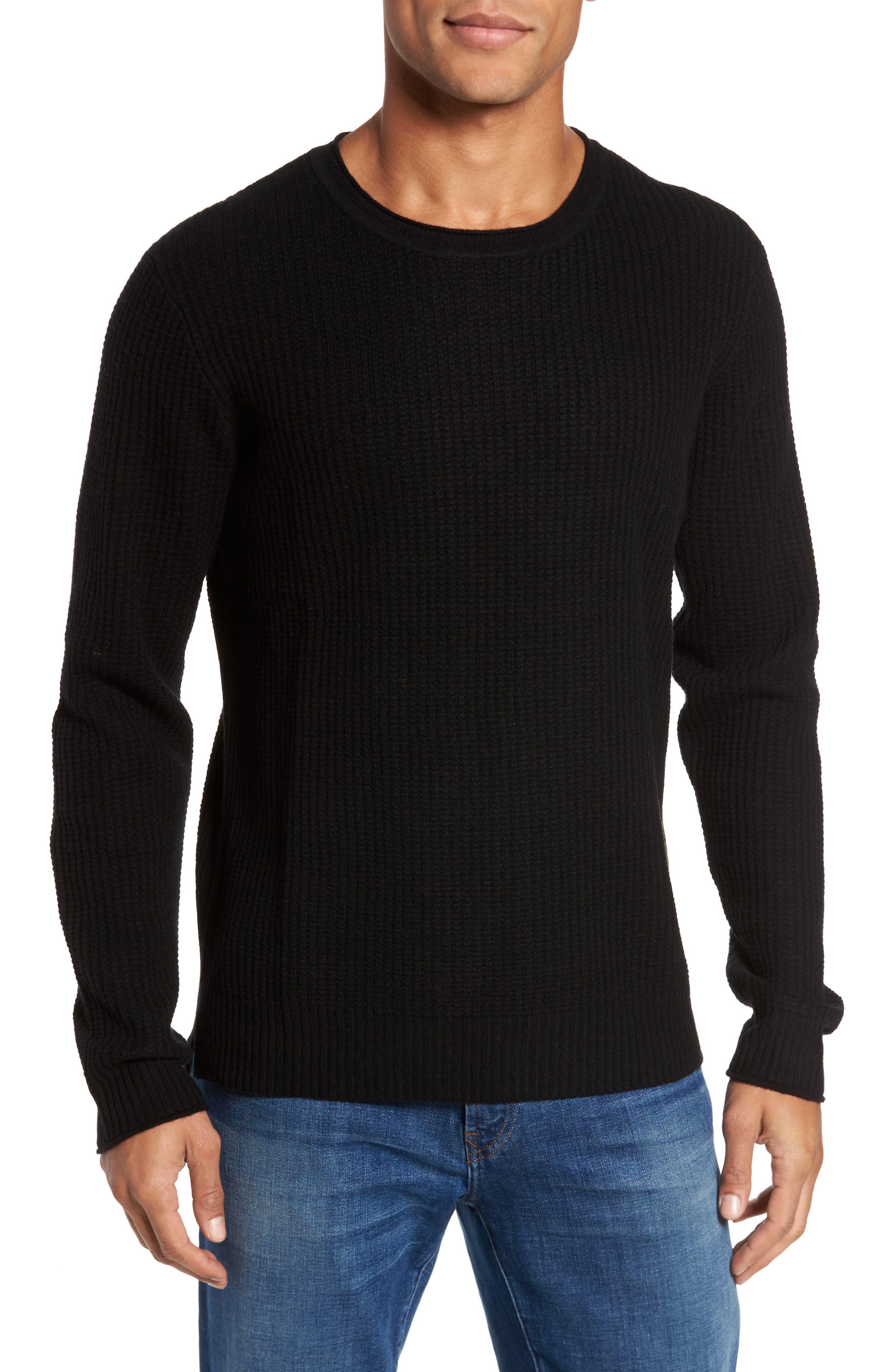 Deklyn Slim Fit Merino & Cashmere Sweatshirt,                         Main,                         color, 001