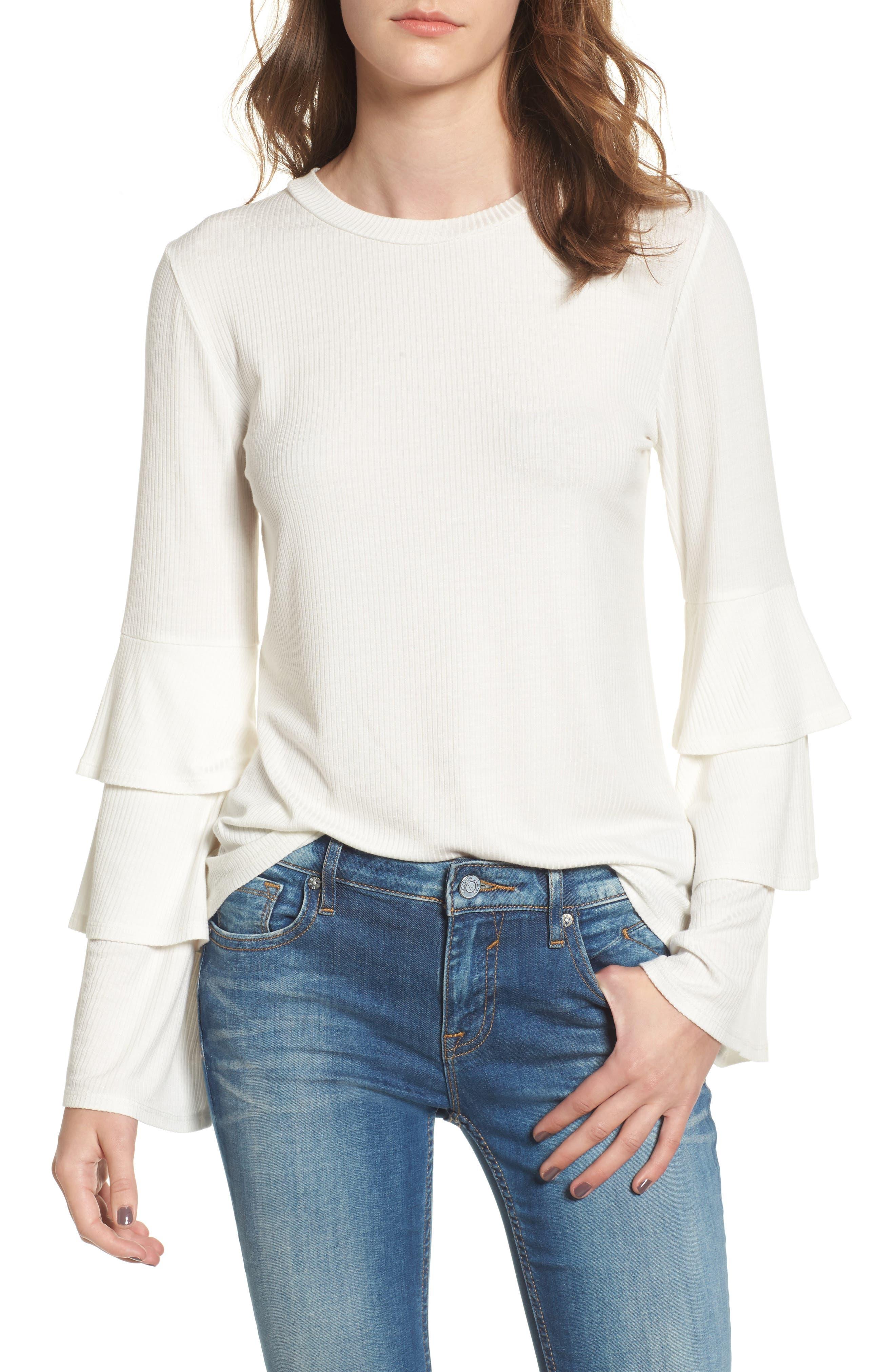 Ruffle Sleeve Ribbed Sweater,                             Main thumbnail 4, color,