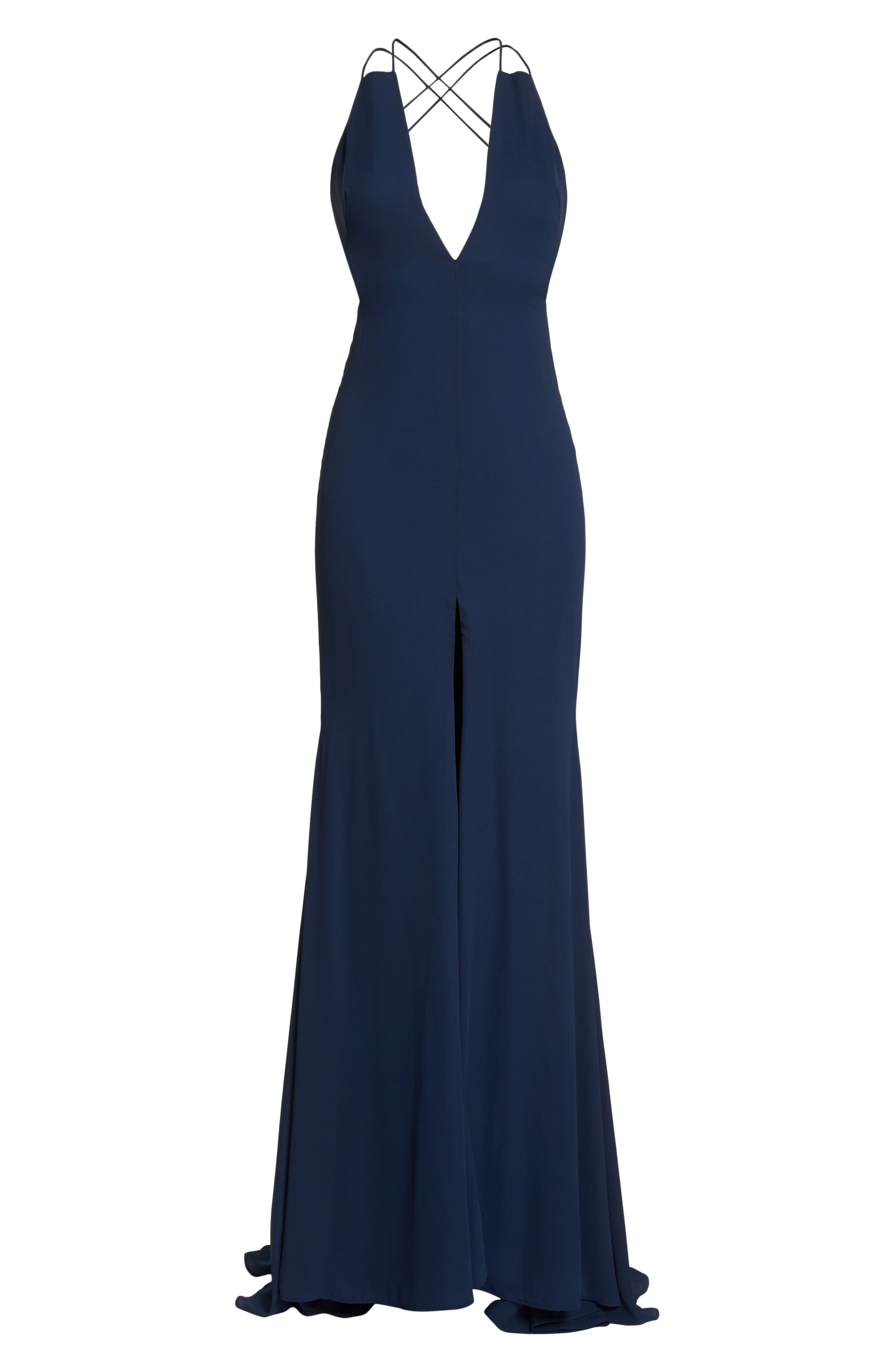 Fame & Partners Surreal Dreamer Cutout Gown,                             Alternate thumbnail 6, color,                             NAVY