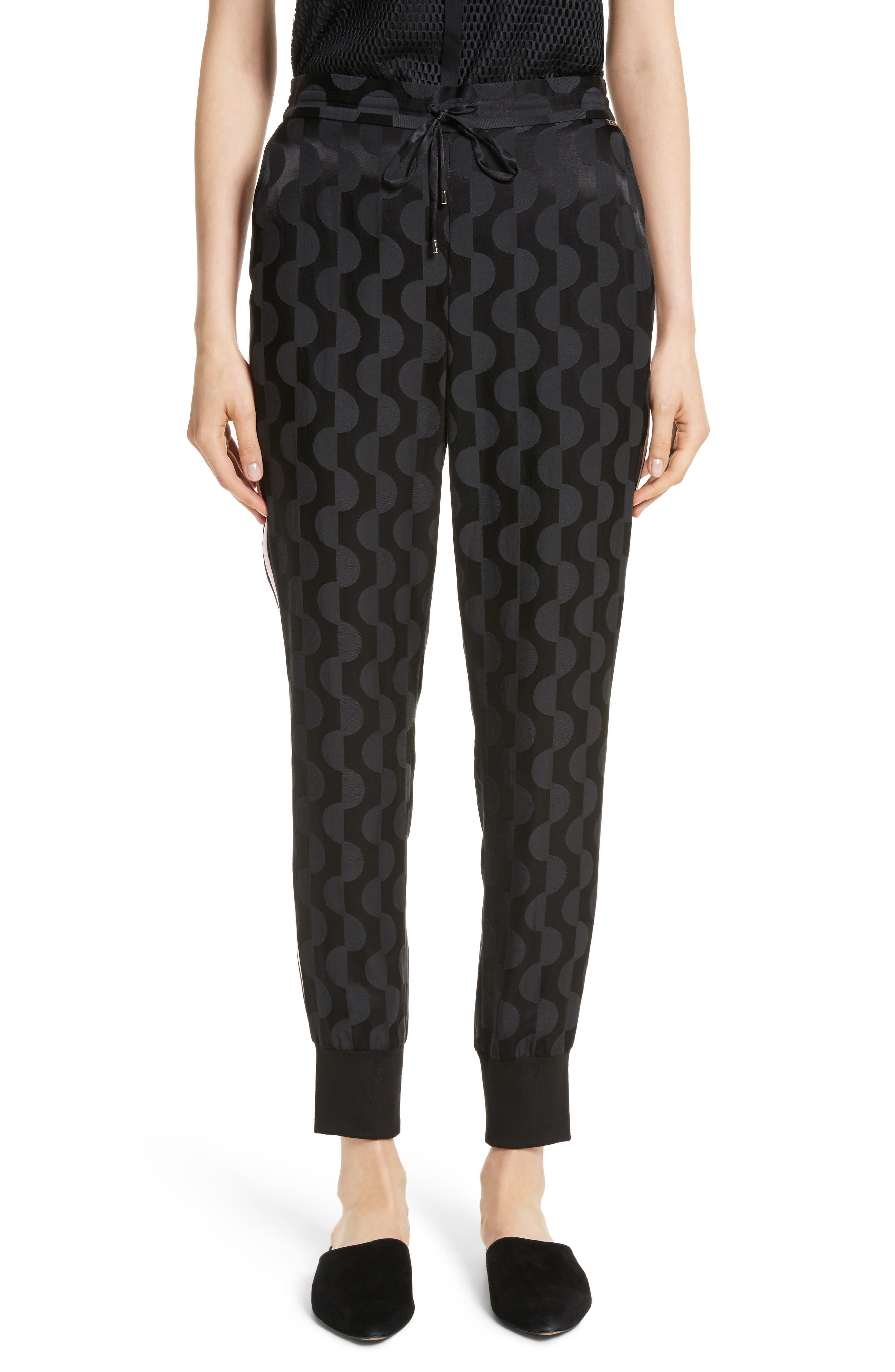 Contrast Stripe Charmeuse Pants,                         Main,                         color, 001