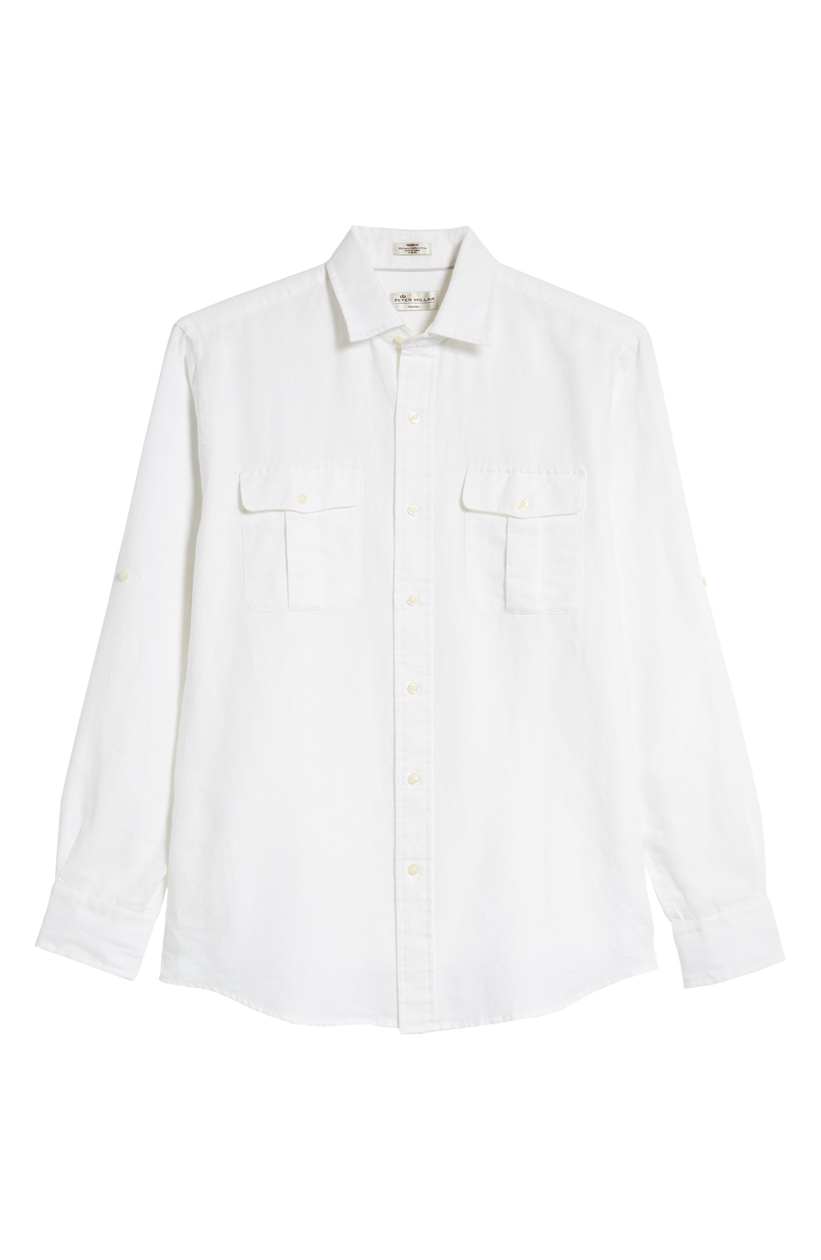 Harkers Regular Fit Herringbone Sport Shirt,                             Alternate thumbnail 5, color,                             100