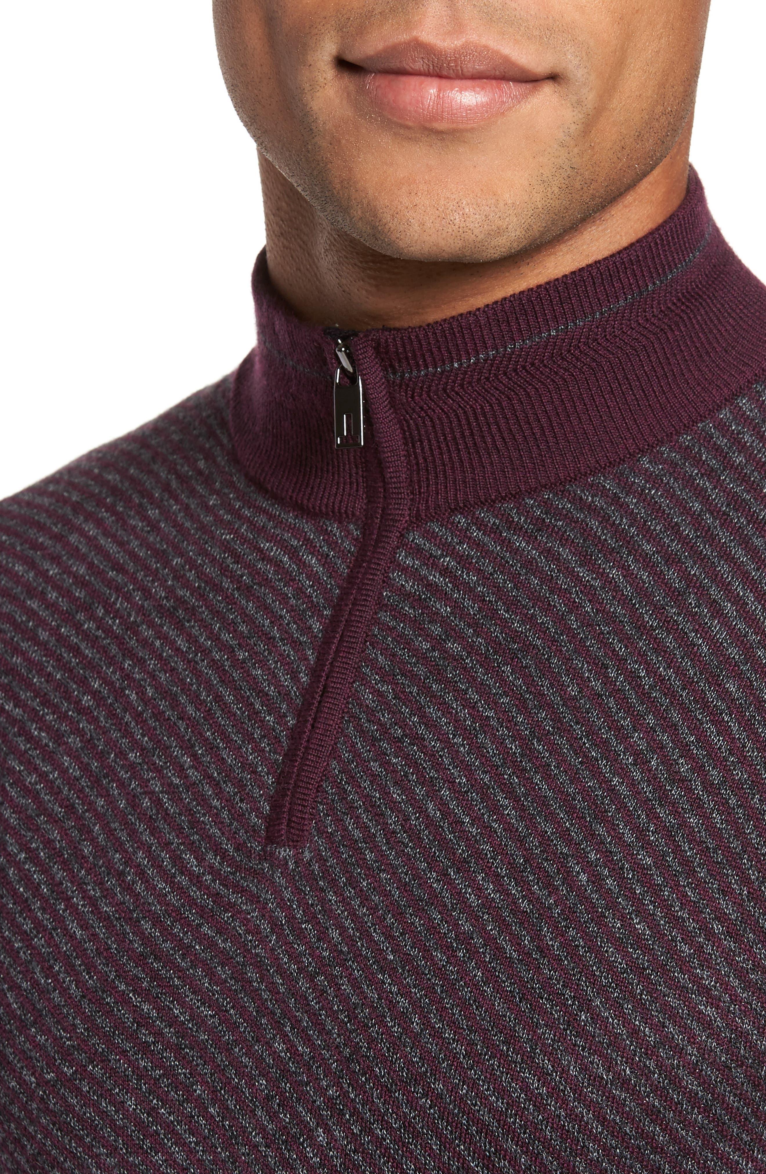 Stripe Quarter Zip Sweater,                             Alternate thumbnail 8, color,
