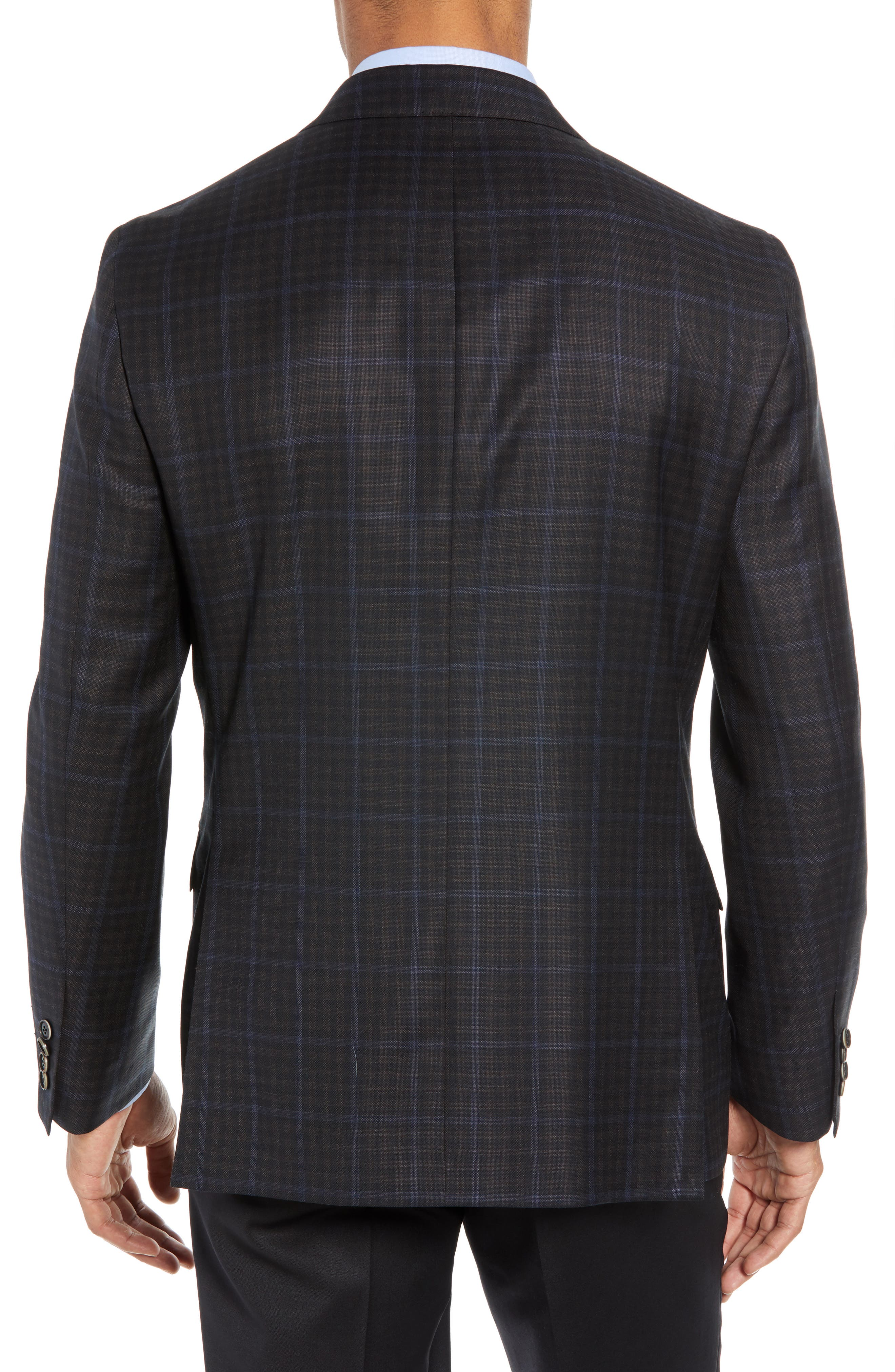 Classic Fit Check Wool Sport Coat,                             Alternate thumbnail 2, color,                             NAVY/ BROWN