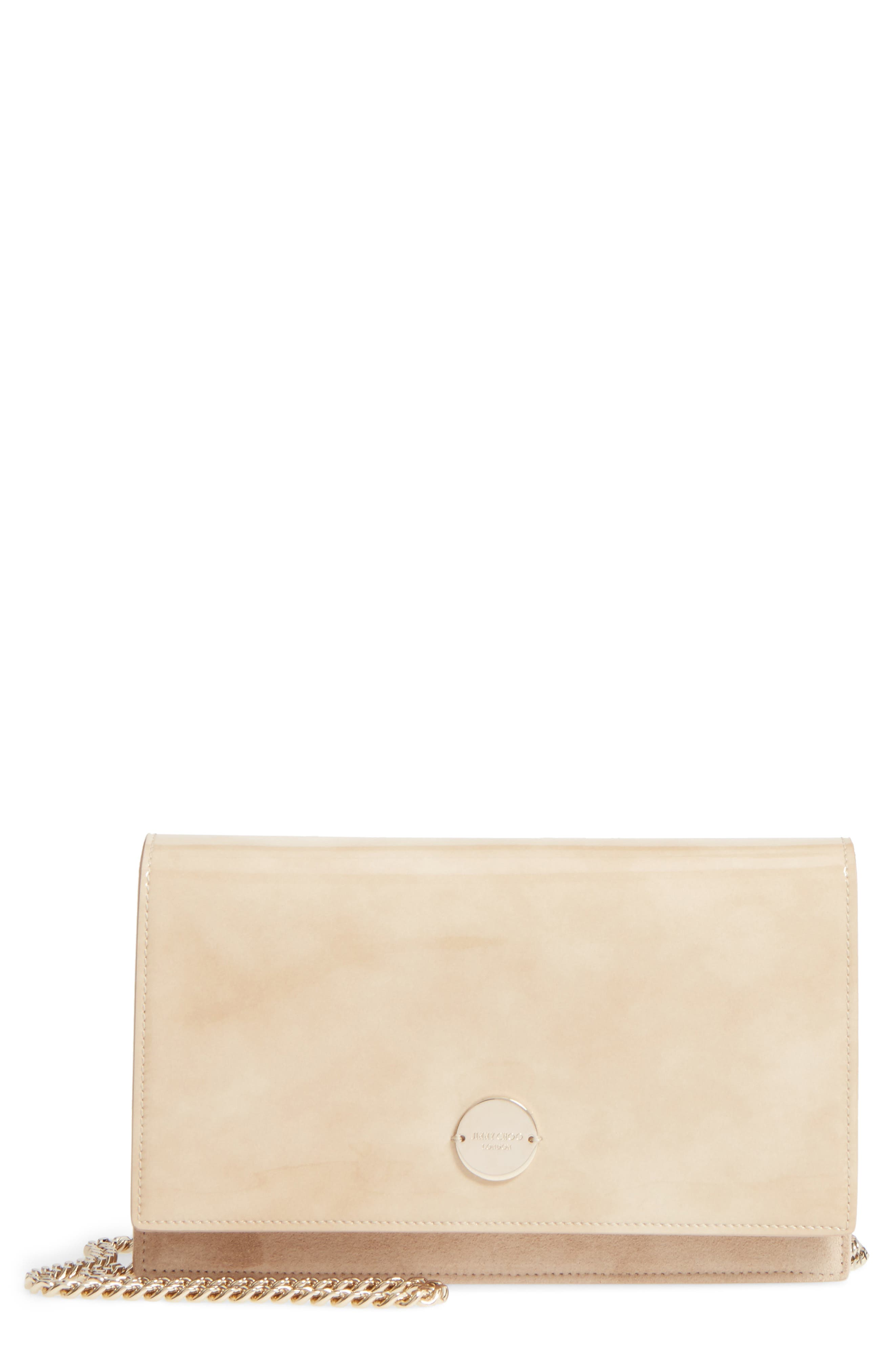 Florence Patent Leather & Suede Clutch,                             Main thumbnail 1, color,                             NUDE