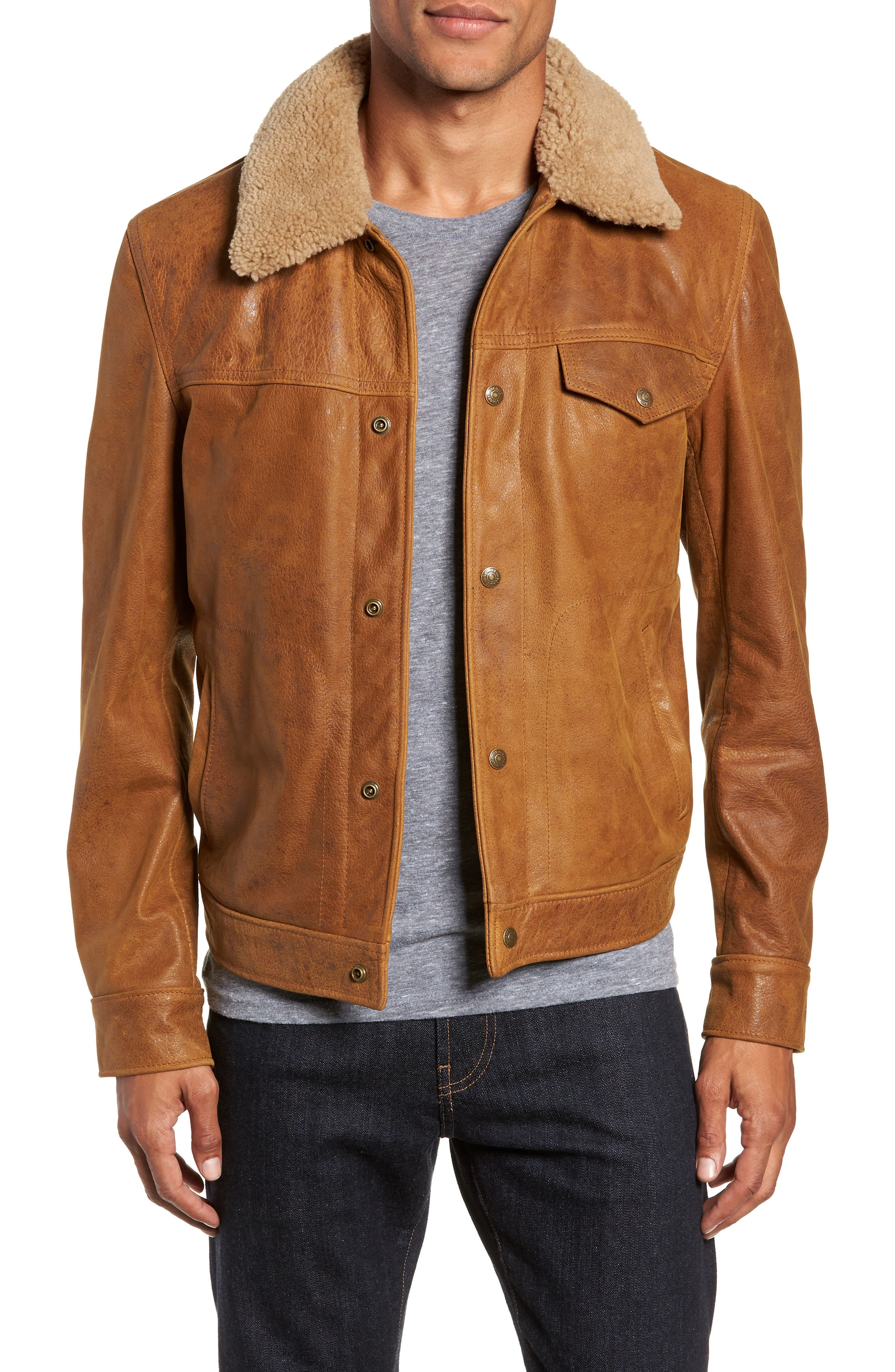 Vintage Buffalo Leather Trucker Jacket with Genuine Sheepskin Collar,                             Main thumbnail 1, color,                             SYCAMORE