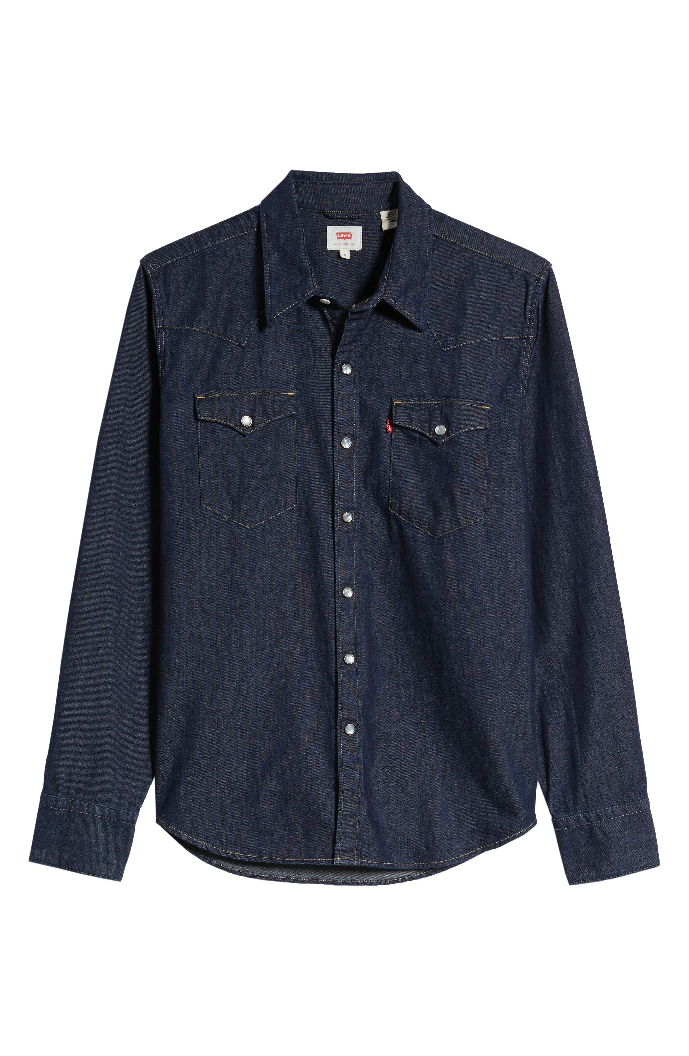 LEVI'S<SUP>®</SUP>,                             Barstow Denim Western Shirt,                             Alternate thumbnail 6, color,                             RED CAST RINSE