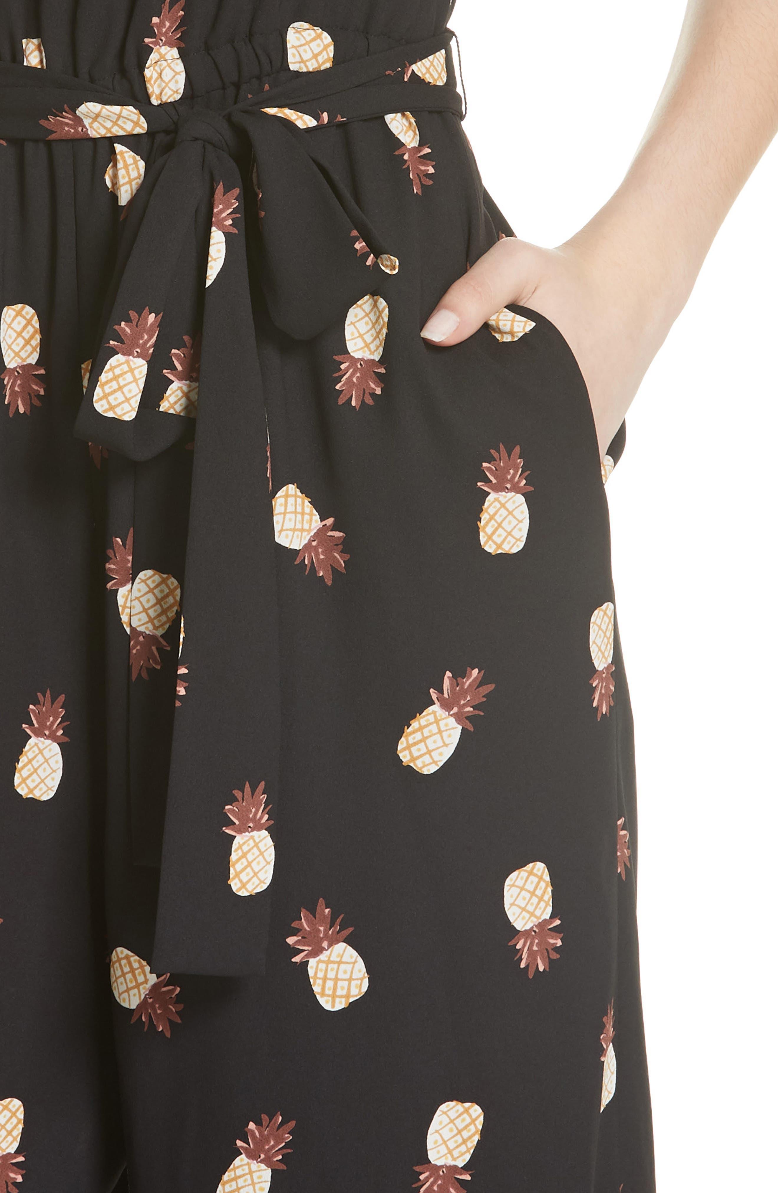 pineapple wide leg crop jumpsuit,                             Alternate thumbnail 4, color,                             001