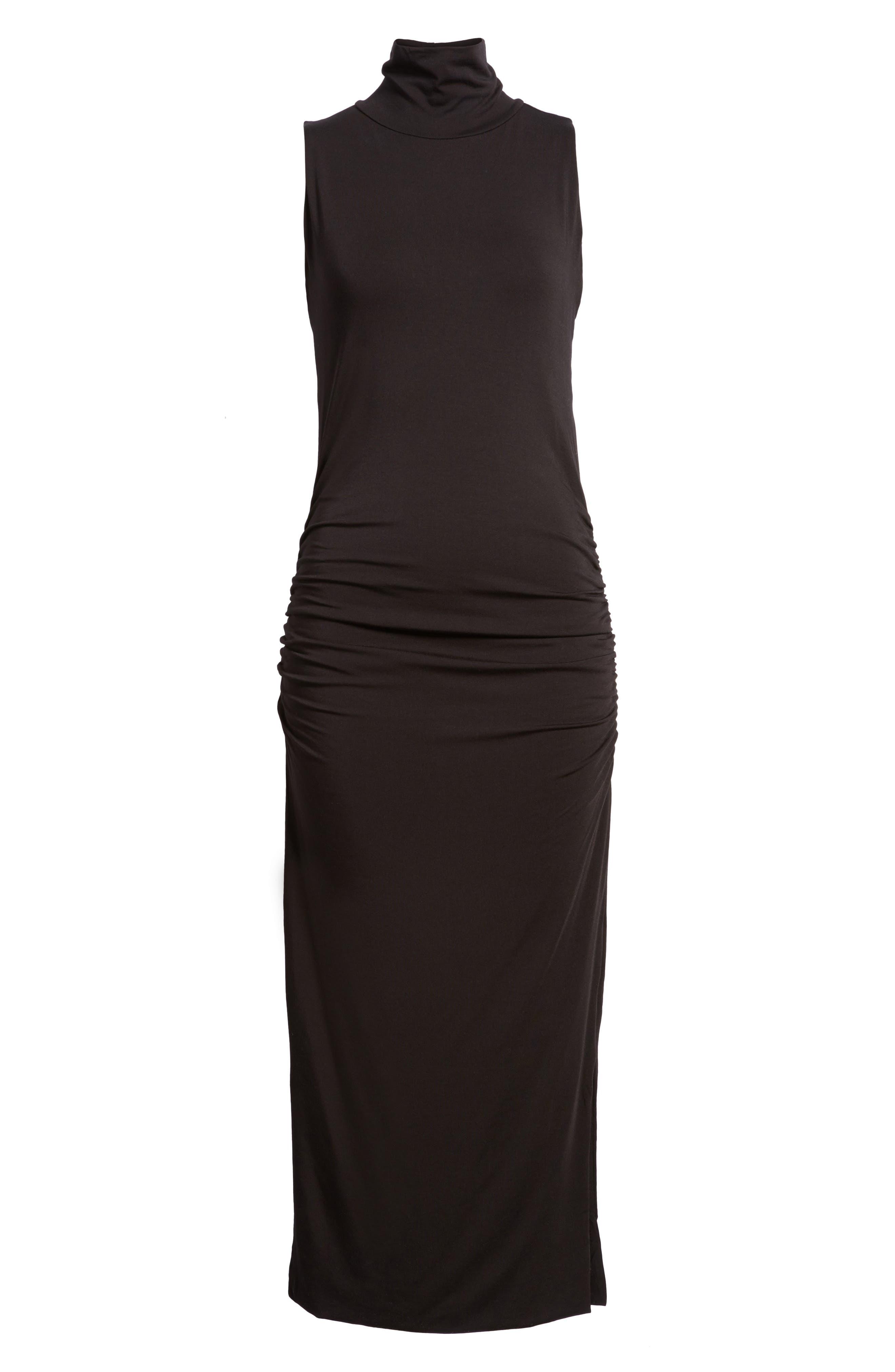 Turtleneck Maxi Dress,                             Alternate thumbnail 6, color,                             010