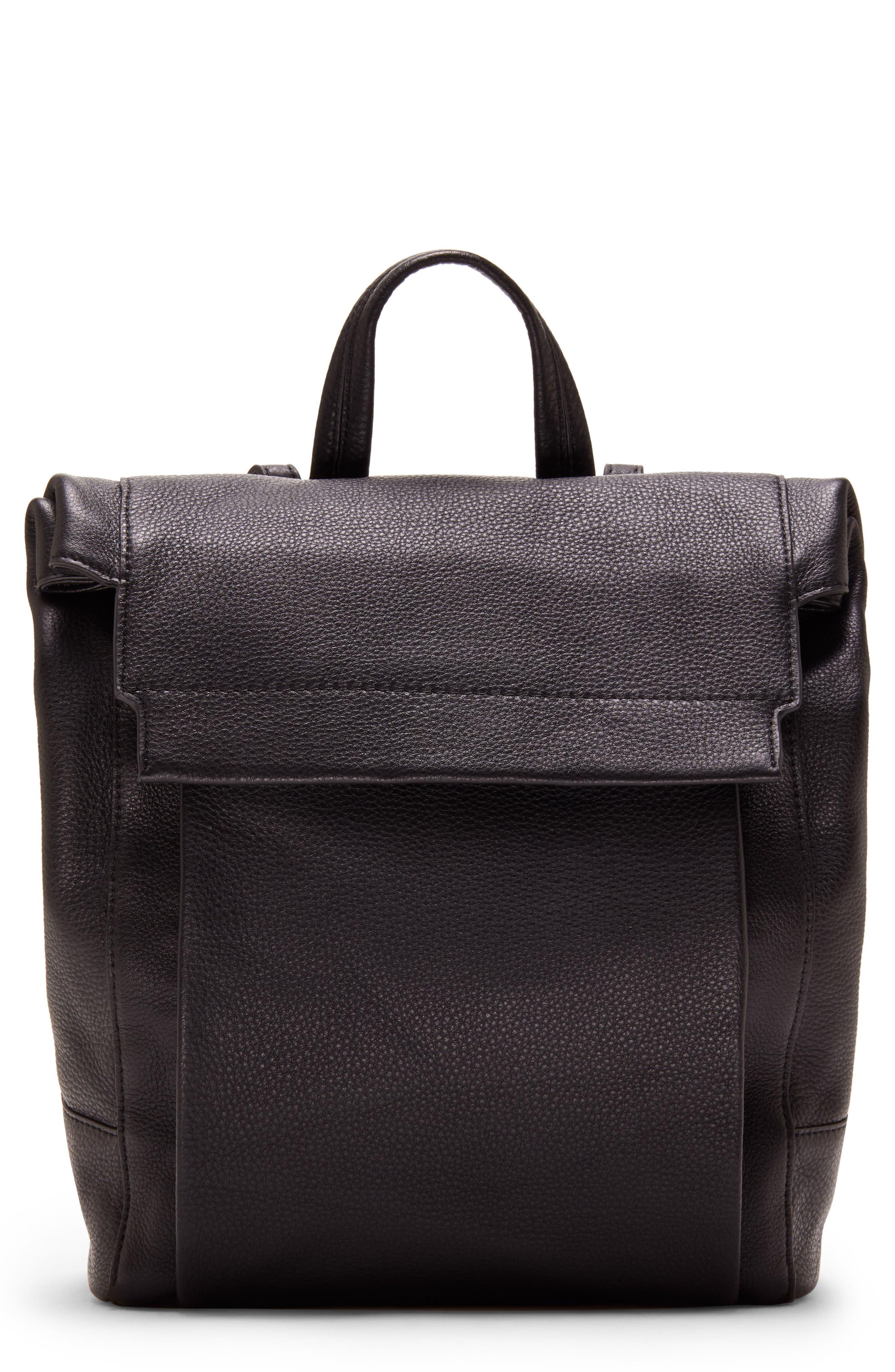 Min Pebbled Leather Backpack,                         Main,                         color, BLACK