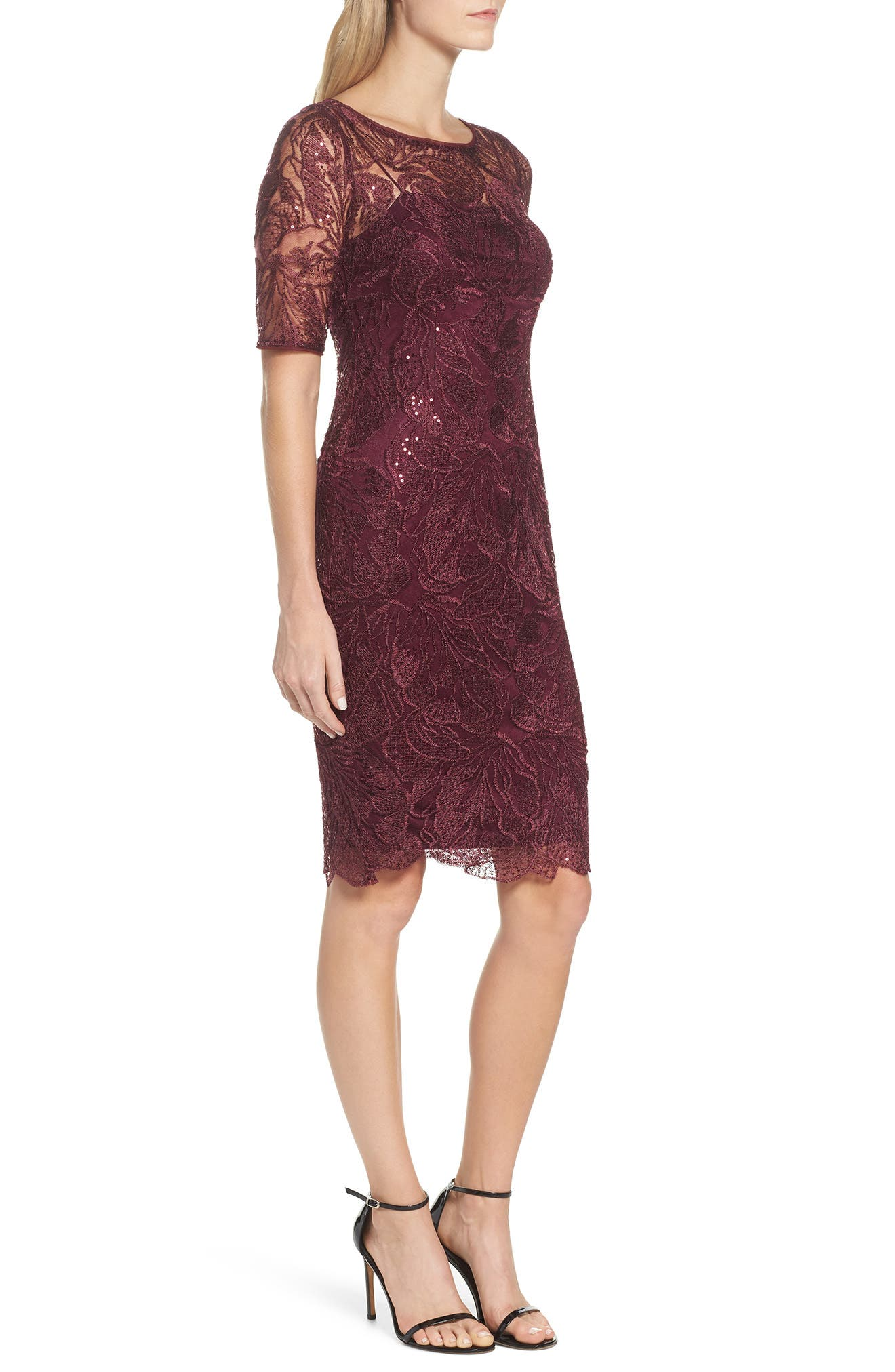 Sequin Embellished Sheath Dress,                             Alternate thumbnail 3, color,                             605