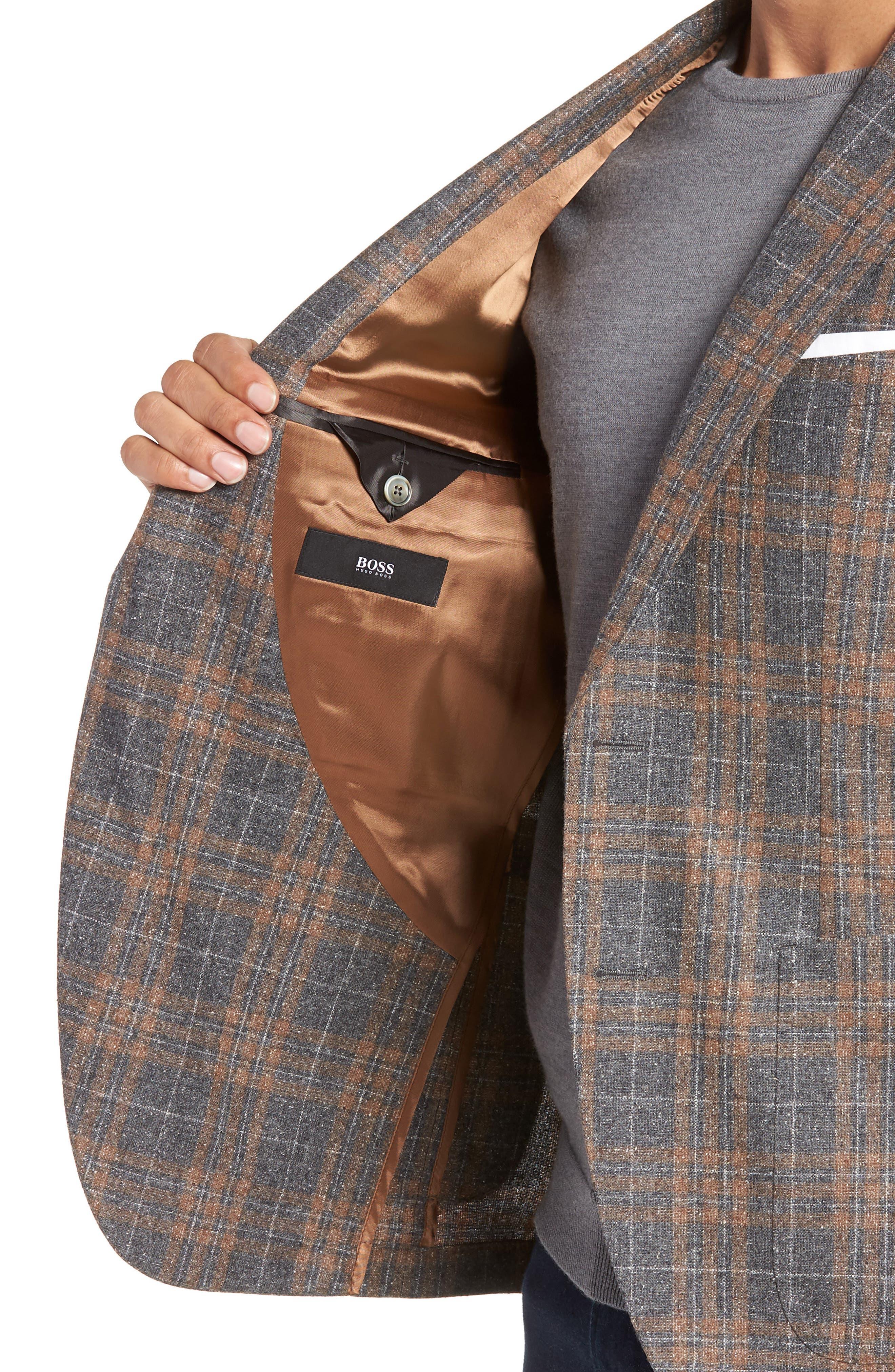 BOSS,                             Janson Classic Fit Plaid Wool Blend Sport Coat,                             Alternate thumbnail 4, color,                             MEDIUM GREY