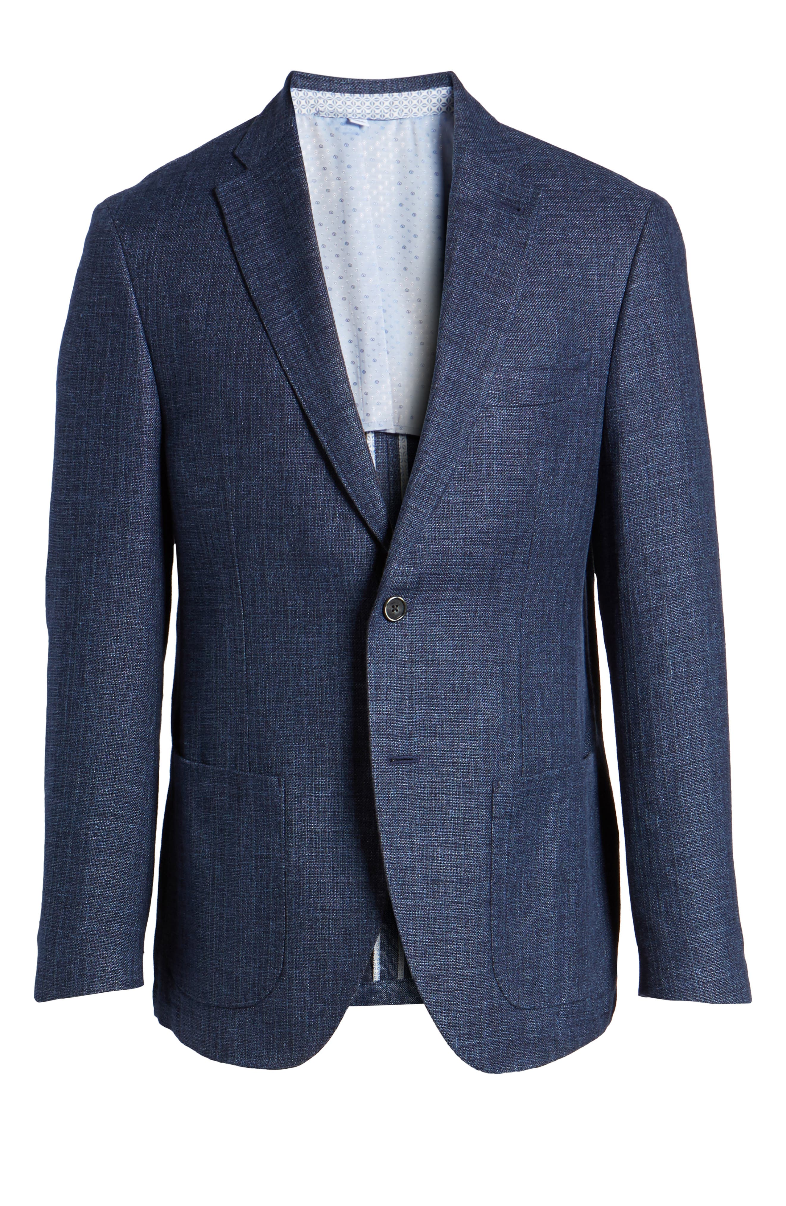 Trent Trim Fit Wool & Linen Blazer,                             Alternate thumbnail 5, color,                             410