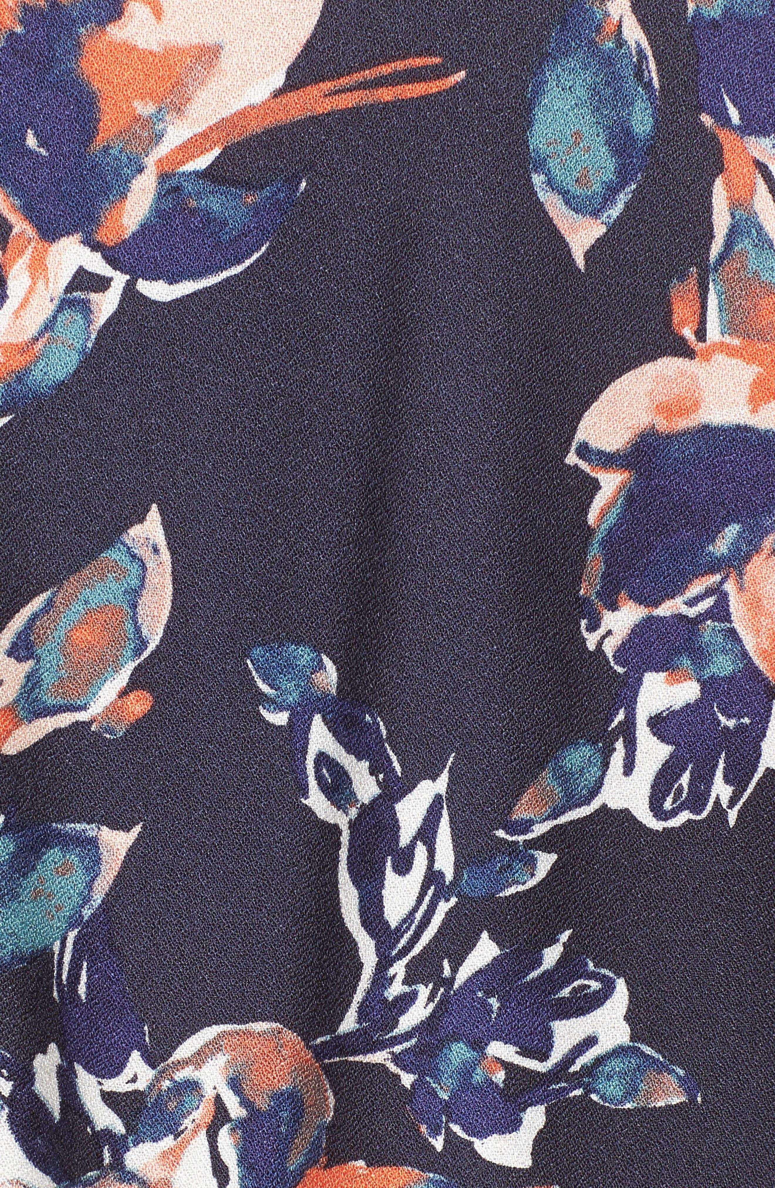 Painted Floral Wrap Dress,                             Alternate thumbnail 5, color,                             411