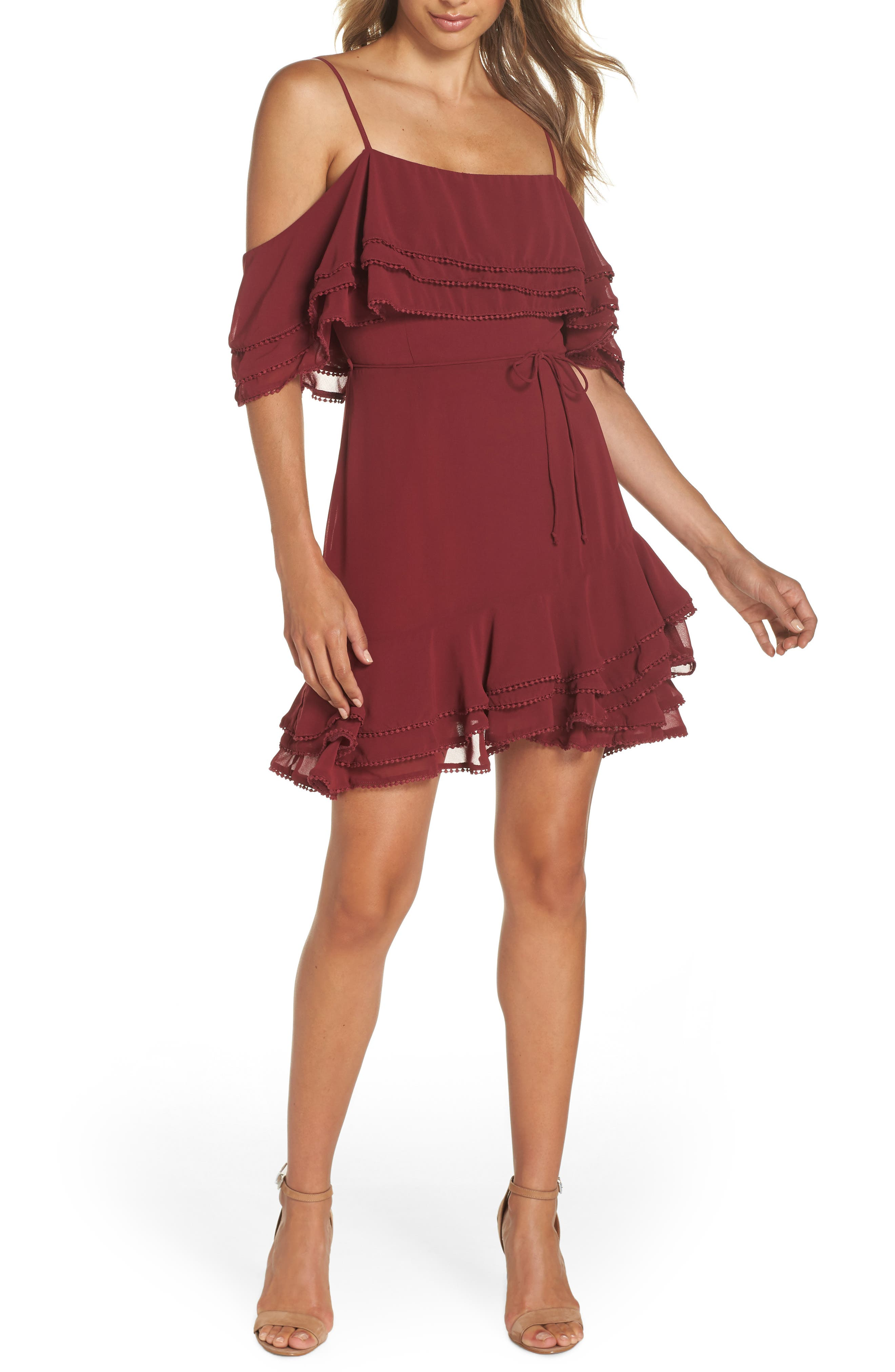 Bb Dakota Up All Night Layered Cold Shoulder Dress, Burgundy