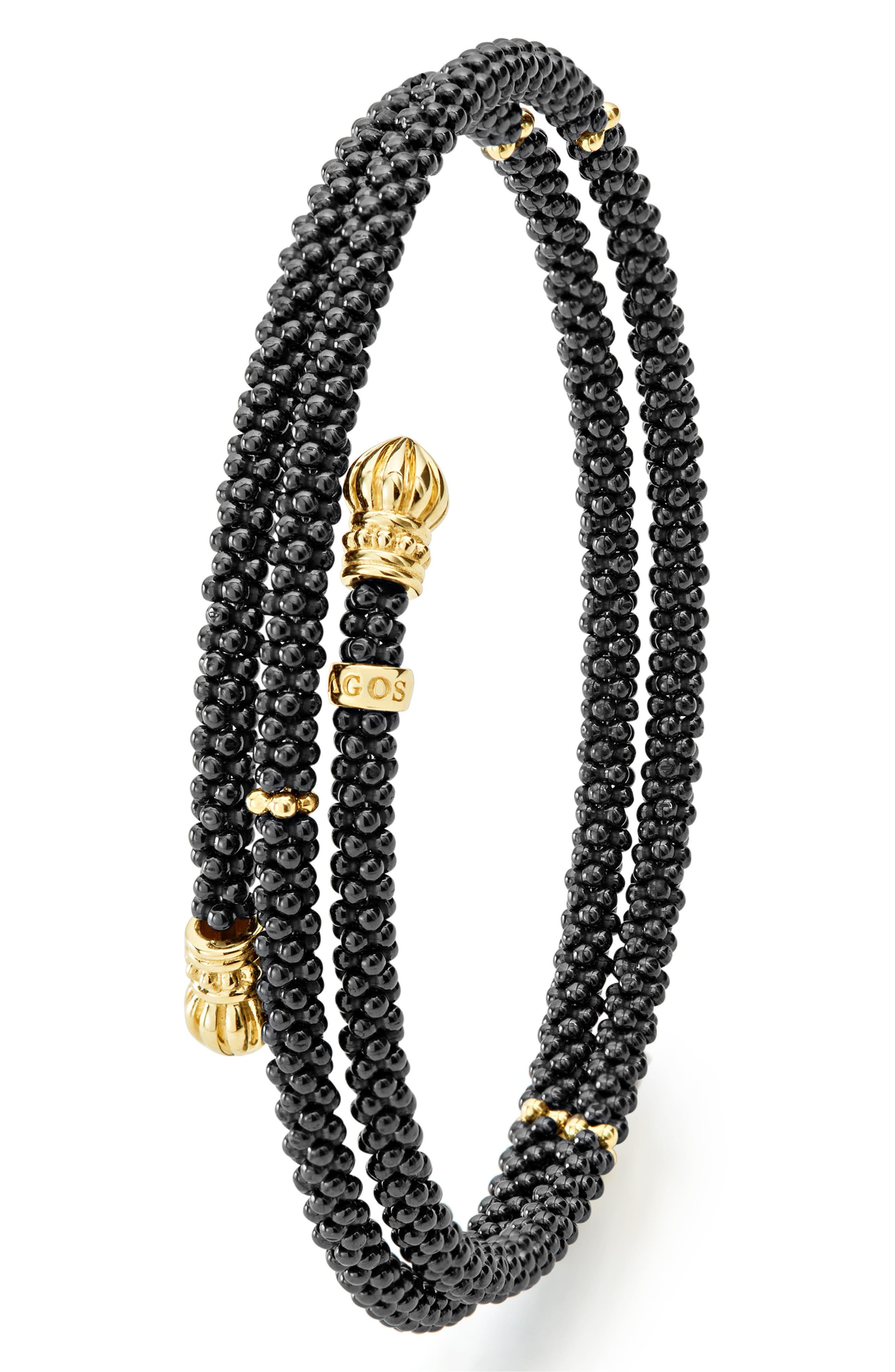 Gold & Black Caviar Coil Bracelet,                             Alternate thumbnail 5, color,                             GOLD