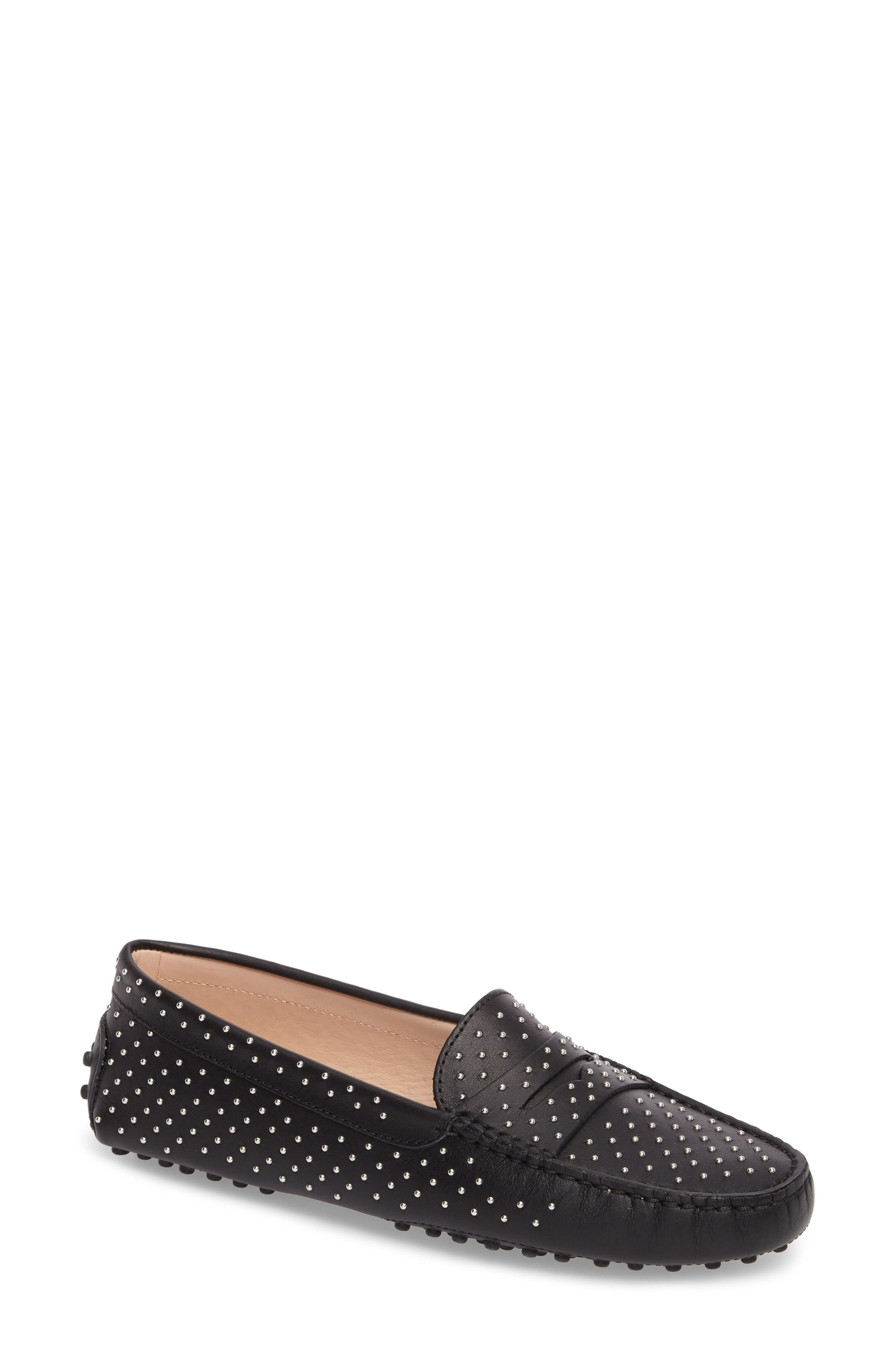 Gommini Stud Penny Loafer,                             Main thumbnail 1, color,                             001