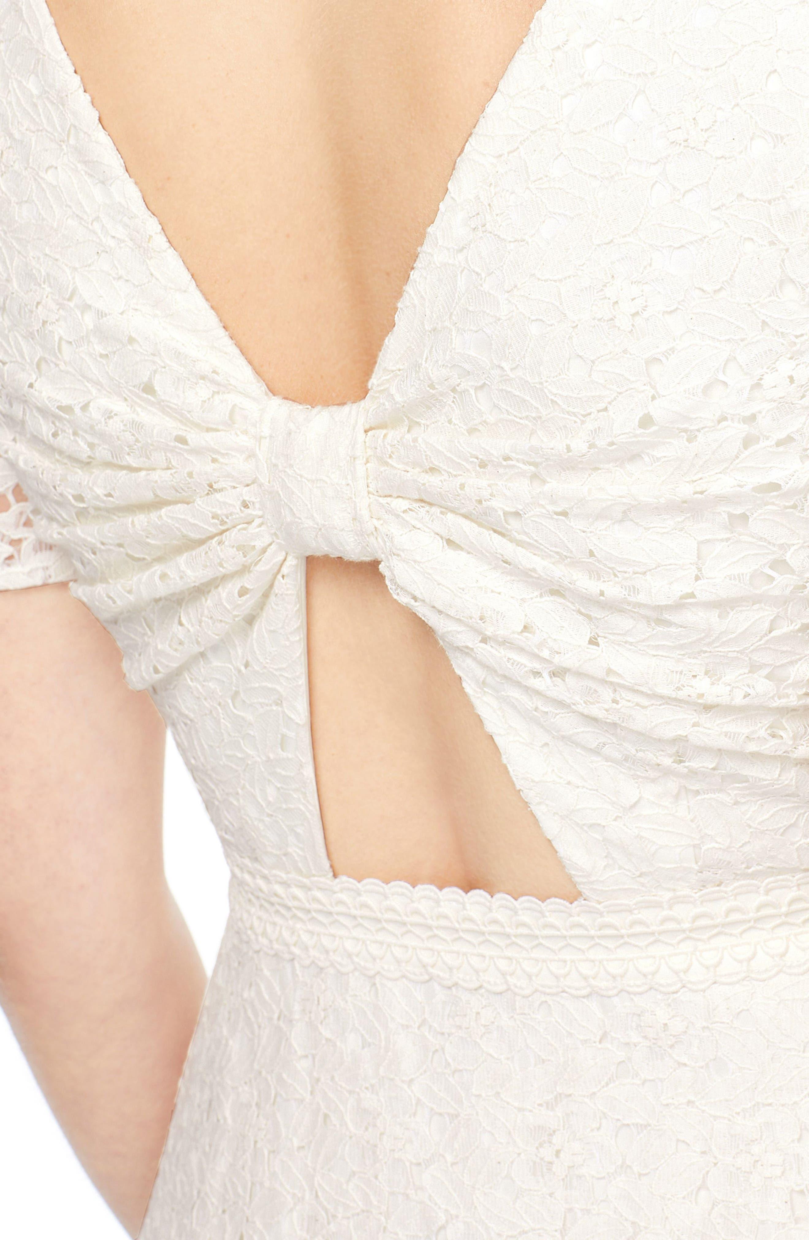 Doris Bow Back Tiered Skirt Lace Dress,                             Alternate thumbnail 3, color,                             CREAM