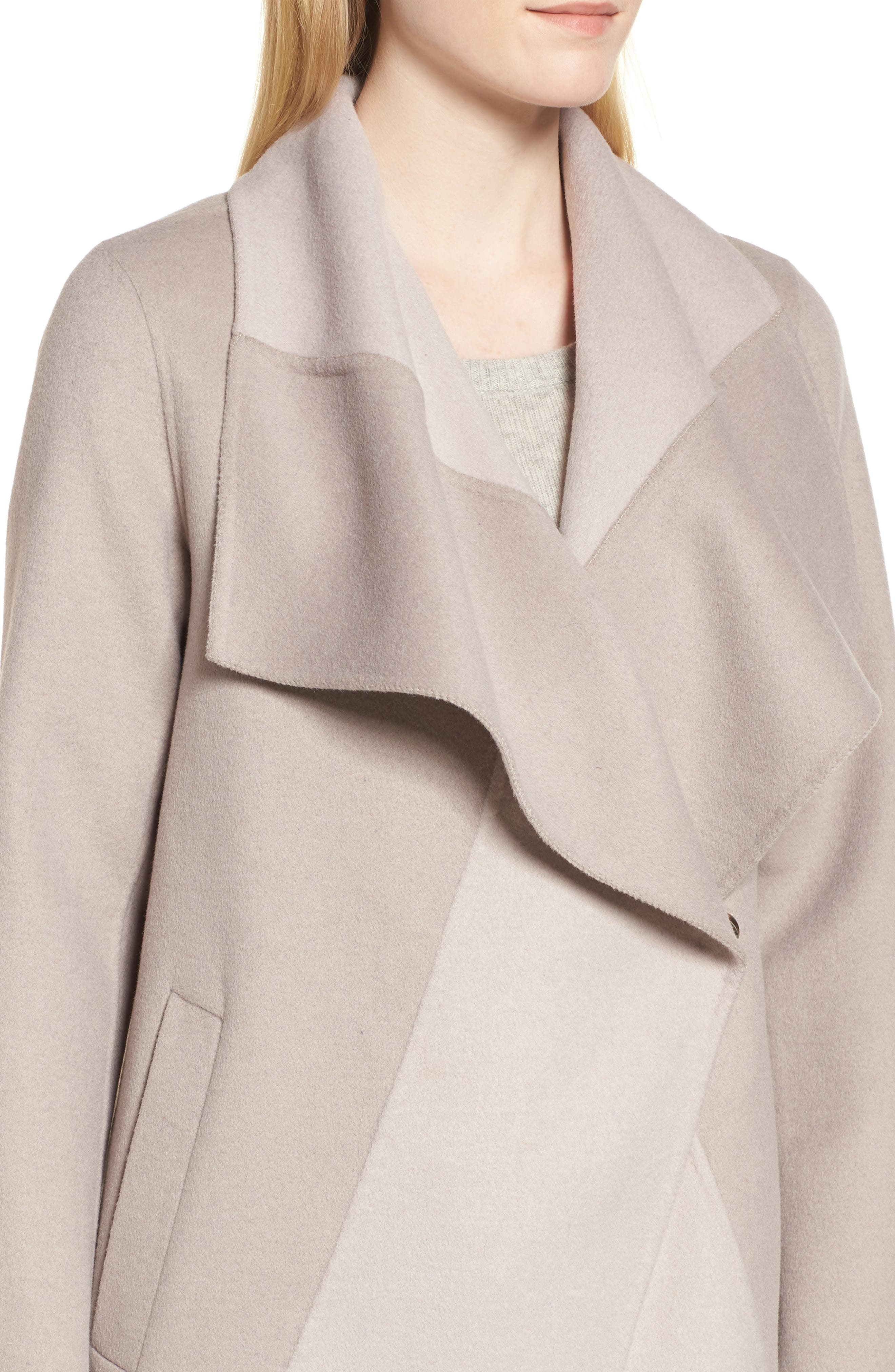 Nicky Double Face Wool Blend Oversize Coat,                             Alternate thumbnail 4, color,                             OYSTER BAY/ BROWN SUGAR