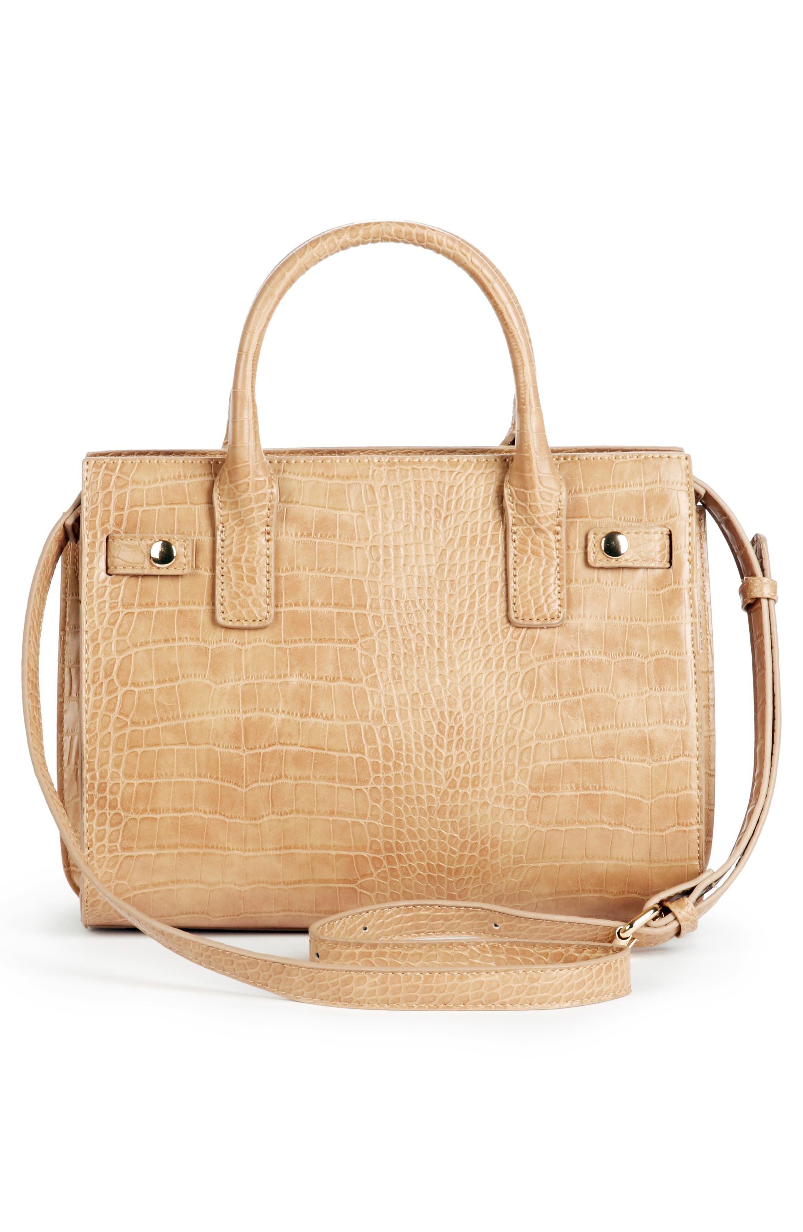 Medium Estella Faux Leather Satchel,                             Alternate thumbnail 2, color,                             CAMEL