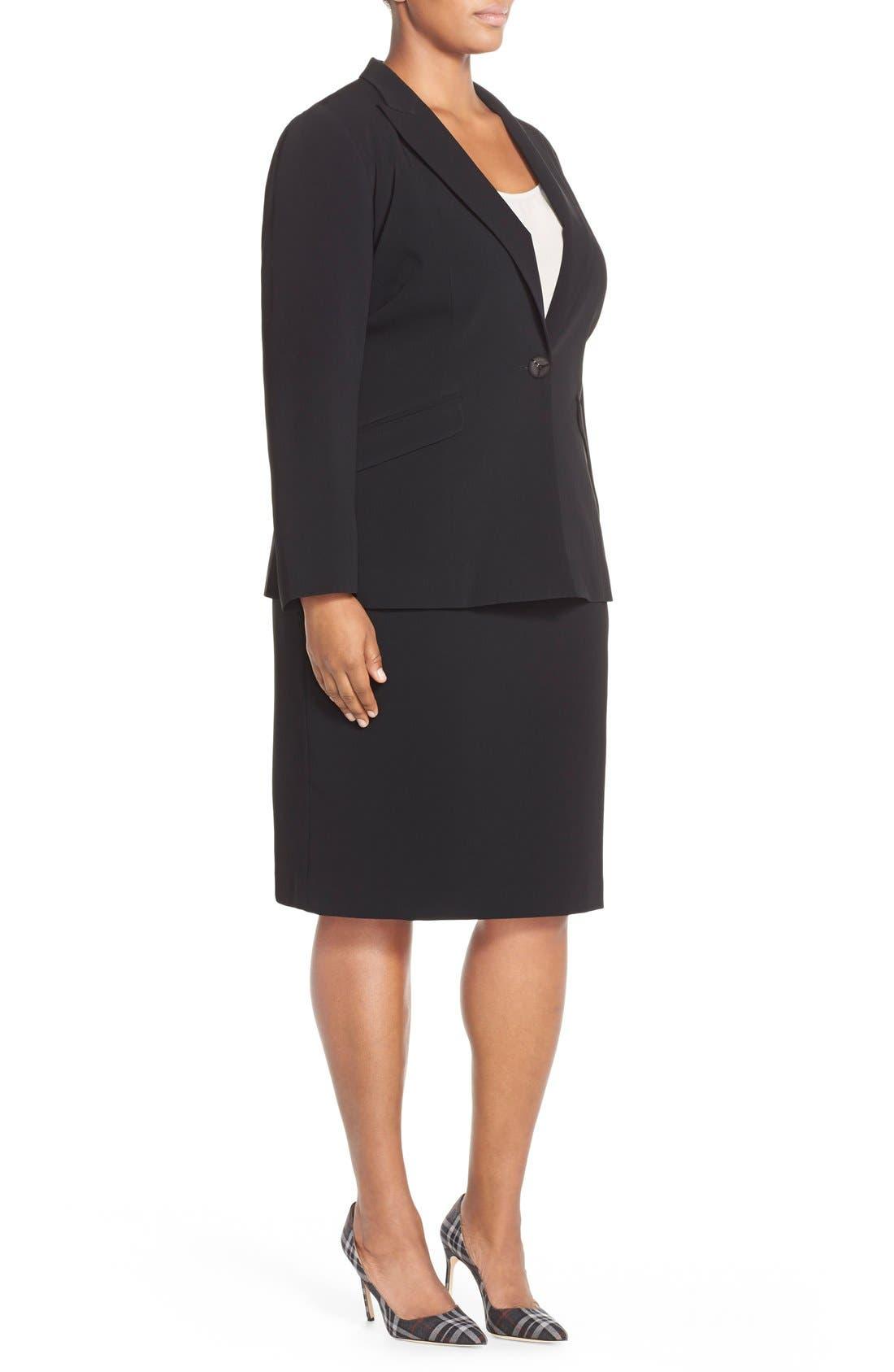 LOUBEN,                             Suit Pencil Skirt,                             Alternate thumbnail 5, color,                             BLACK
