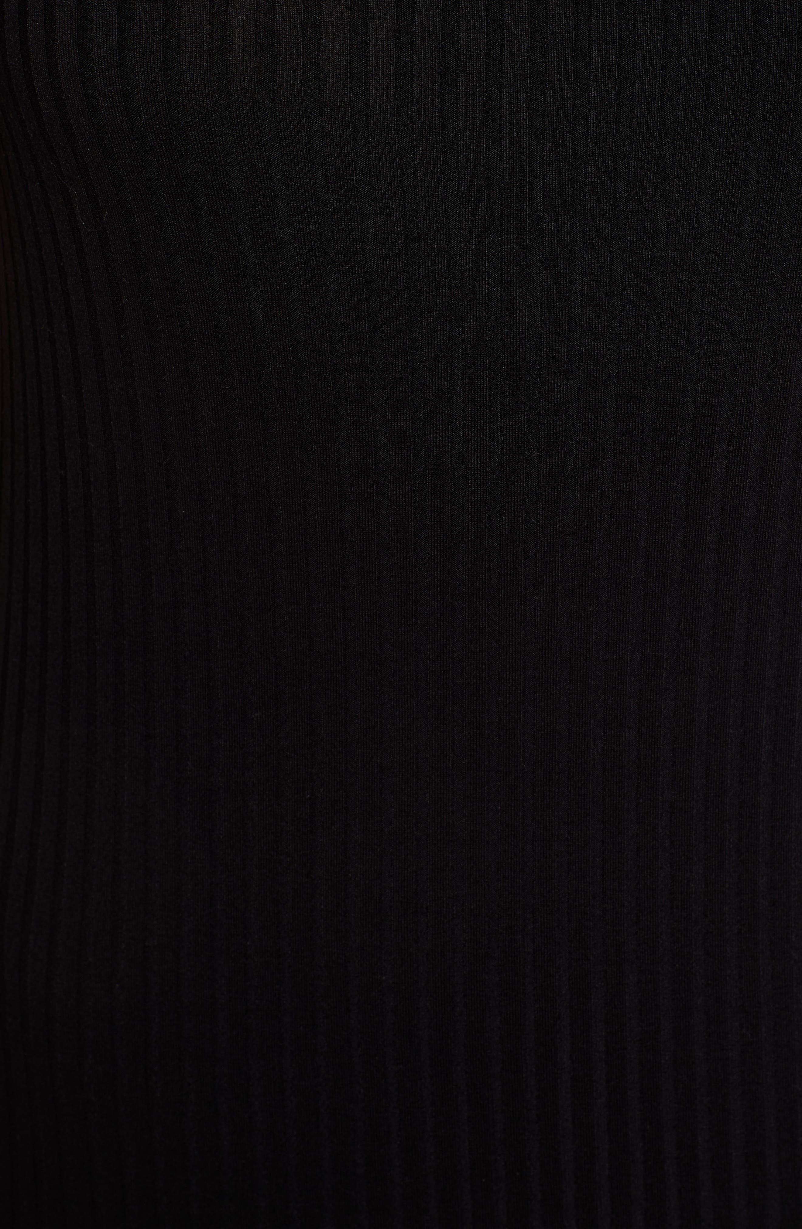 Side Stripe Rib Knit Dress,                             Alternate thumbnail 6, color,                             001