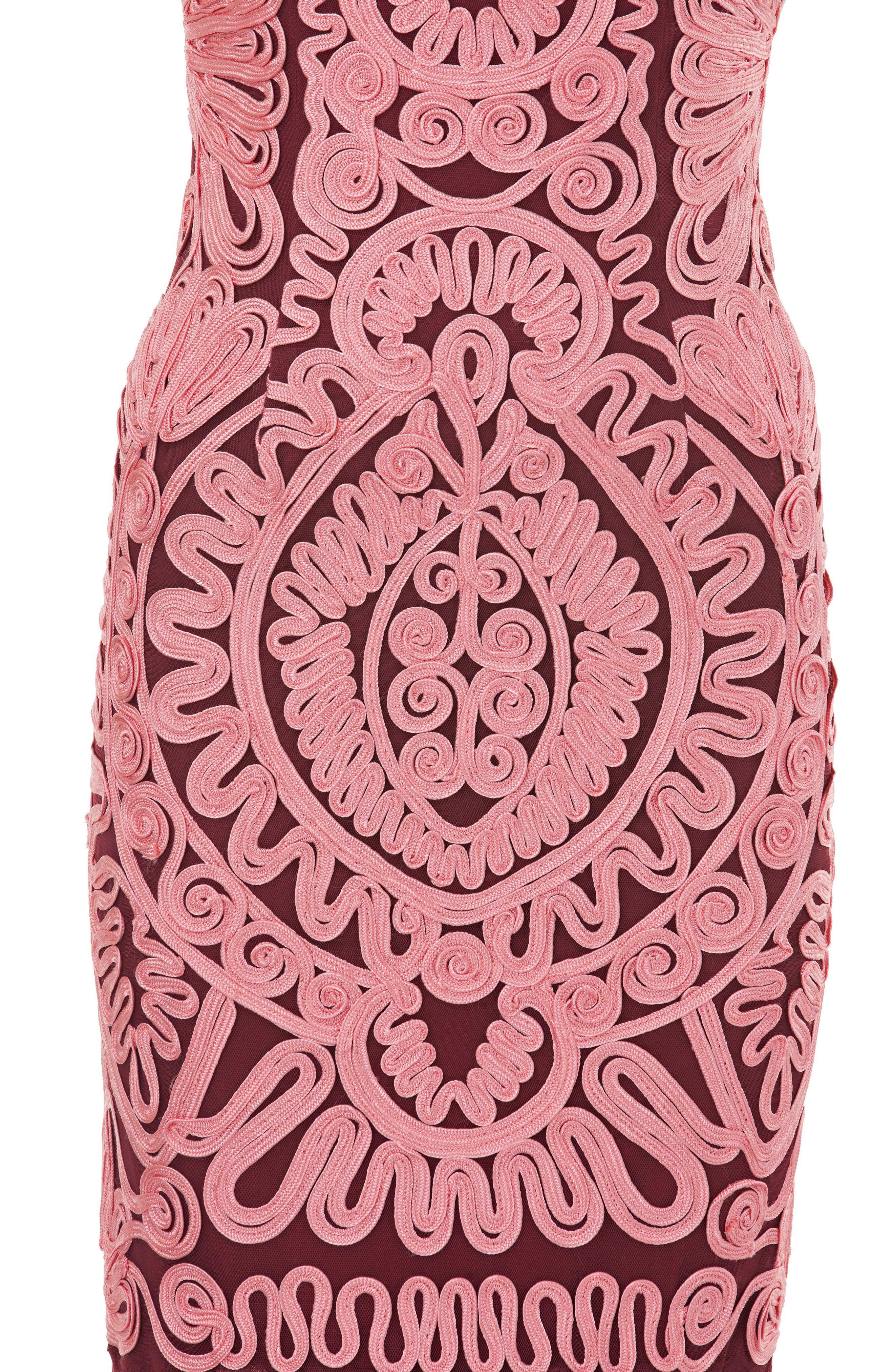 Soutache Mesh Dress,                             Alternate thumbnail 4, color,                             PINK/ WINE