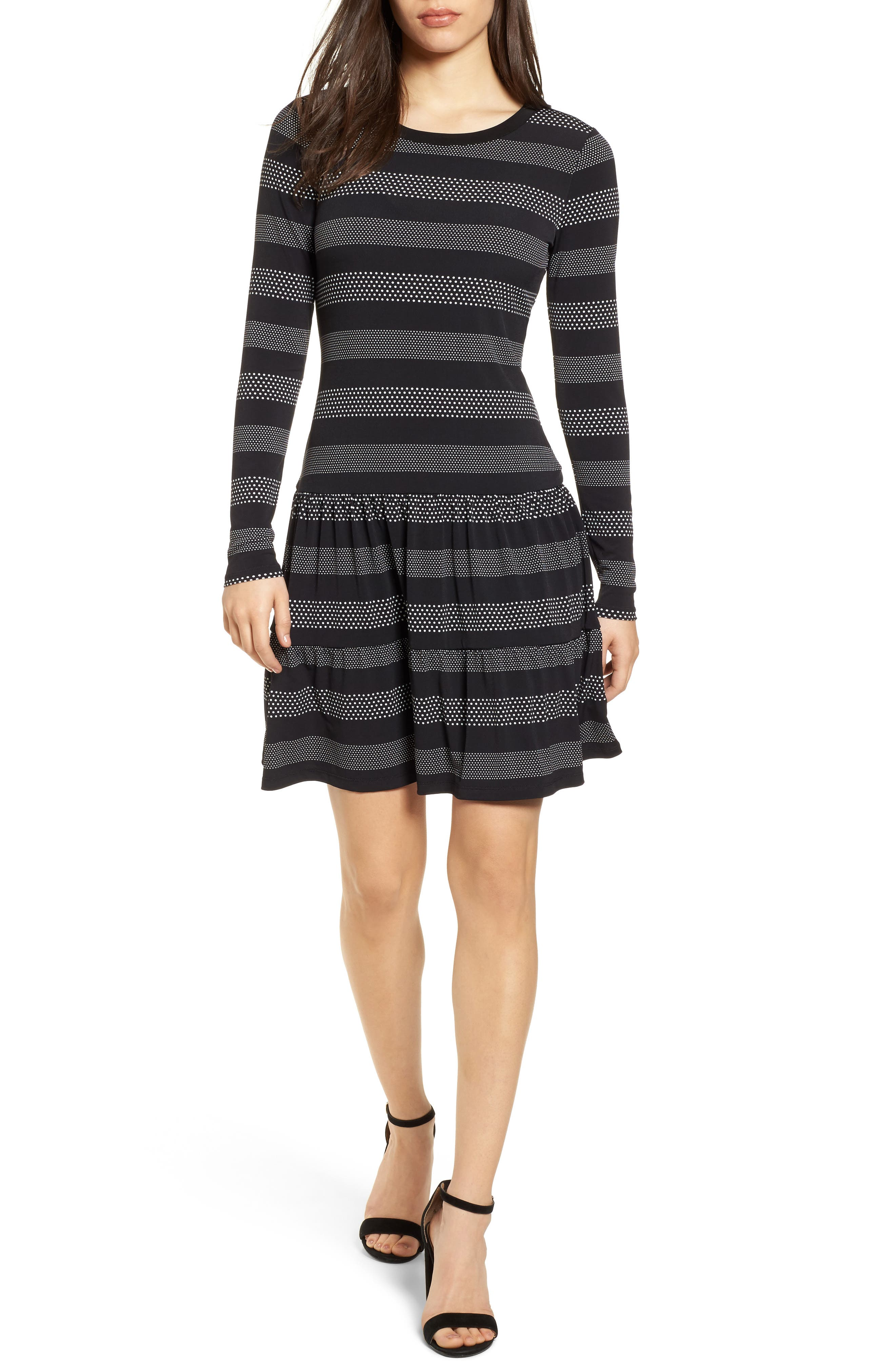 Stripe Dot Drop Waist Dress,                             Main thumbnail 1, color,                             018