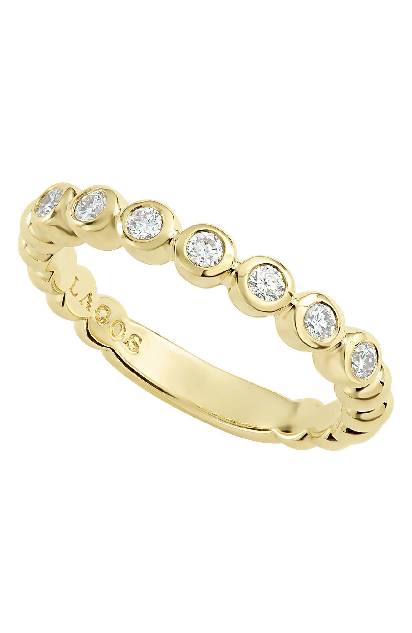 Covet Stone Caviar Stack Ring,                             Alternate thumbnail 6, color,                             GOLD/ DIAMOND