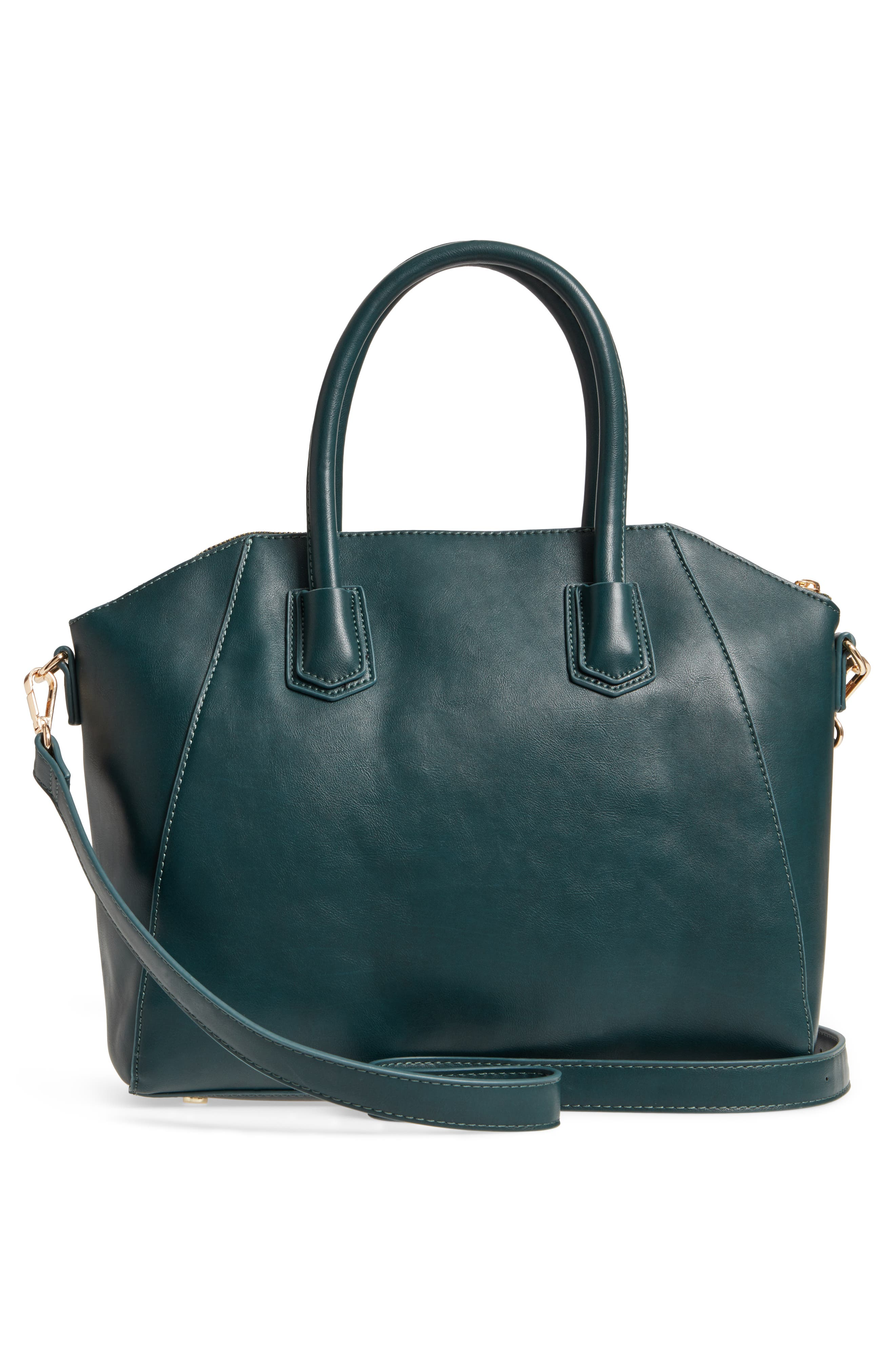 Chase Faux Leather Satchel,                             Alternate thumbnail 8, color,