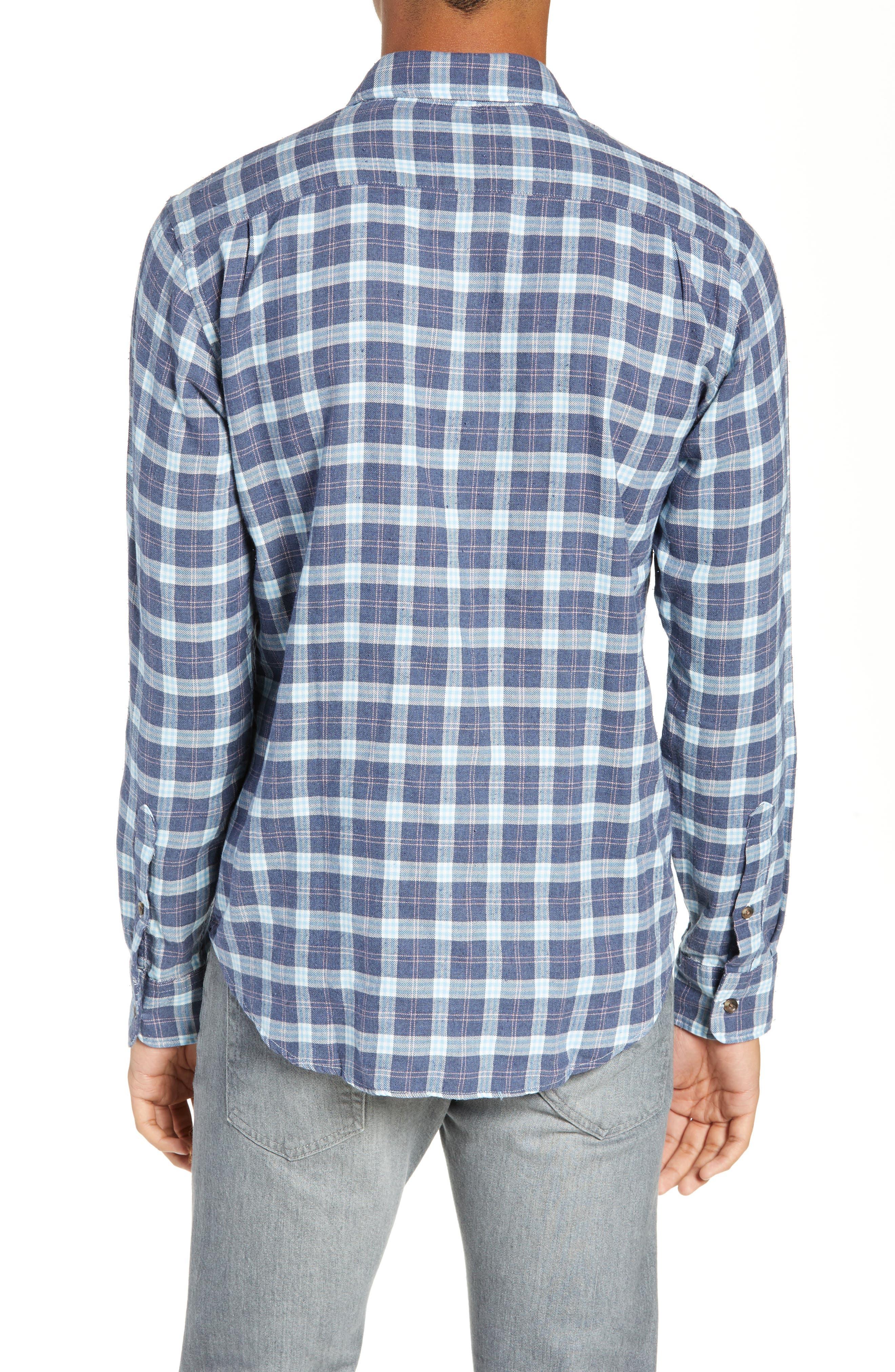 Brushed Alpine Regular Fit Flannel Shirt,                             Alternate thumbnail 3, color,                             INDIGO BLUE CORAL