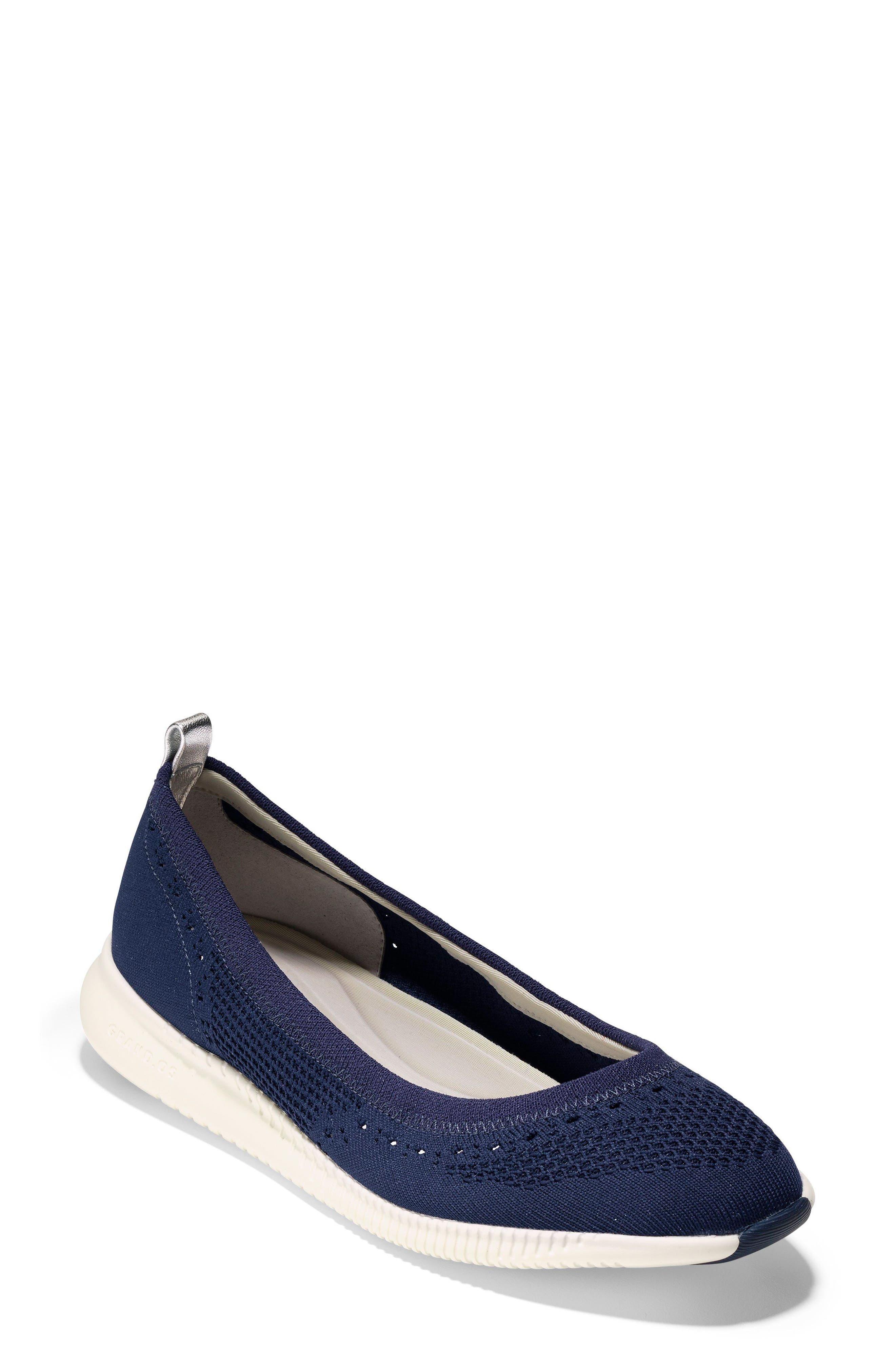 2.ZERØGRAND Stitchlite Ballet Flat,                         Main,                         color, MARINE BLUE KNIT