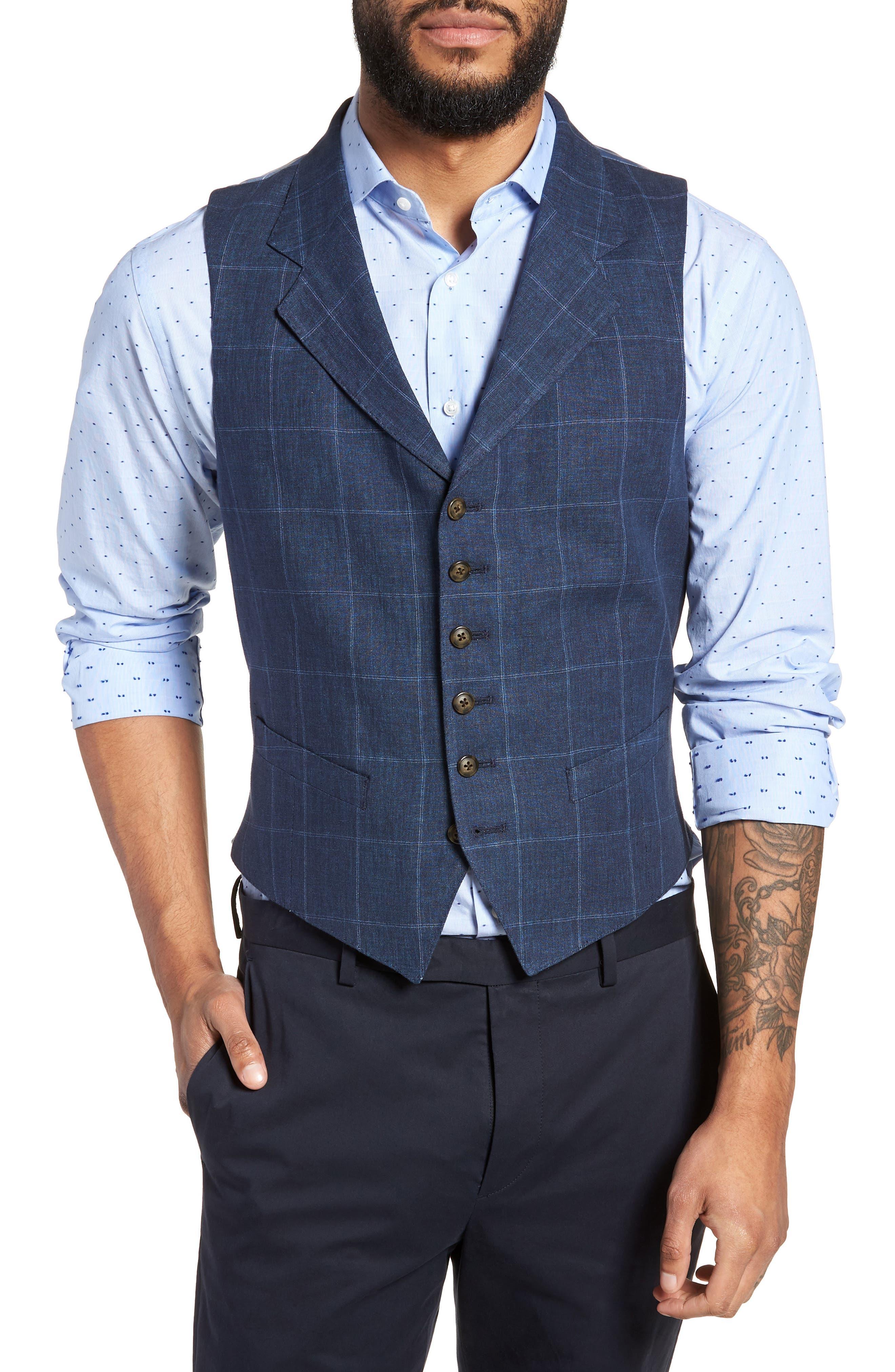 Stag Trim Fit Windowpane Linen Vest,                         Main,                         color, 400