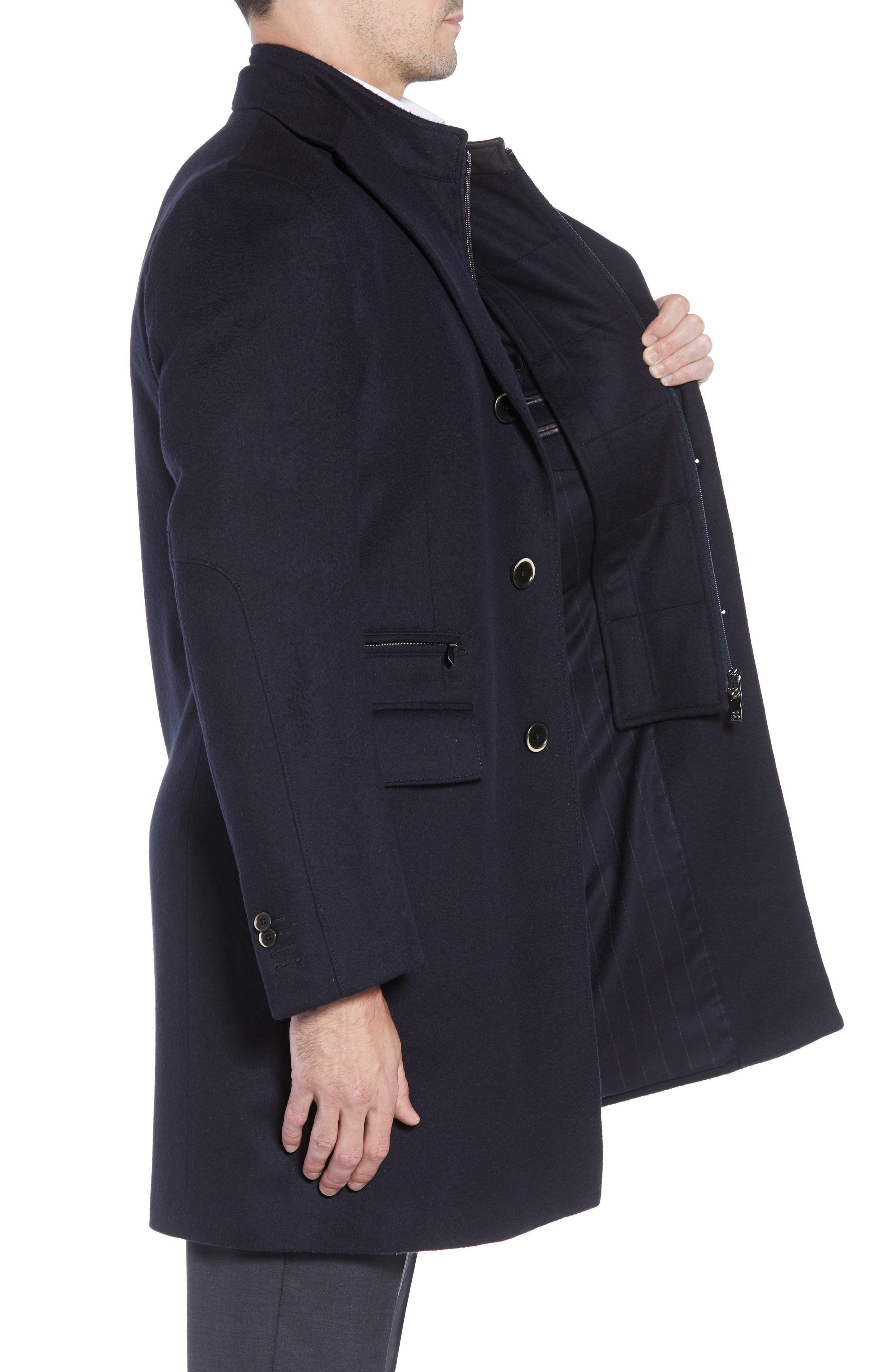 Solid Wool Topcoat,                             Alternate thumbnail 3, color,                             NAVY