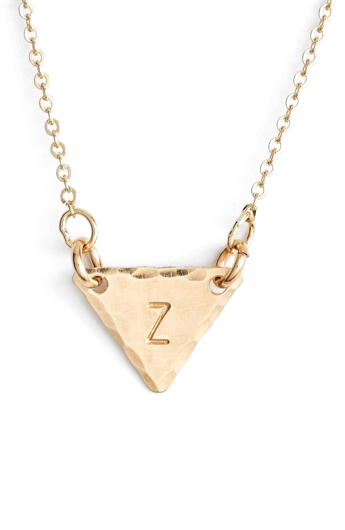 14k-Gold Fill Initial Triangle Necklace,                             Main thumbnail 26, color,