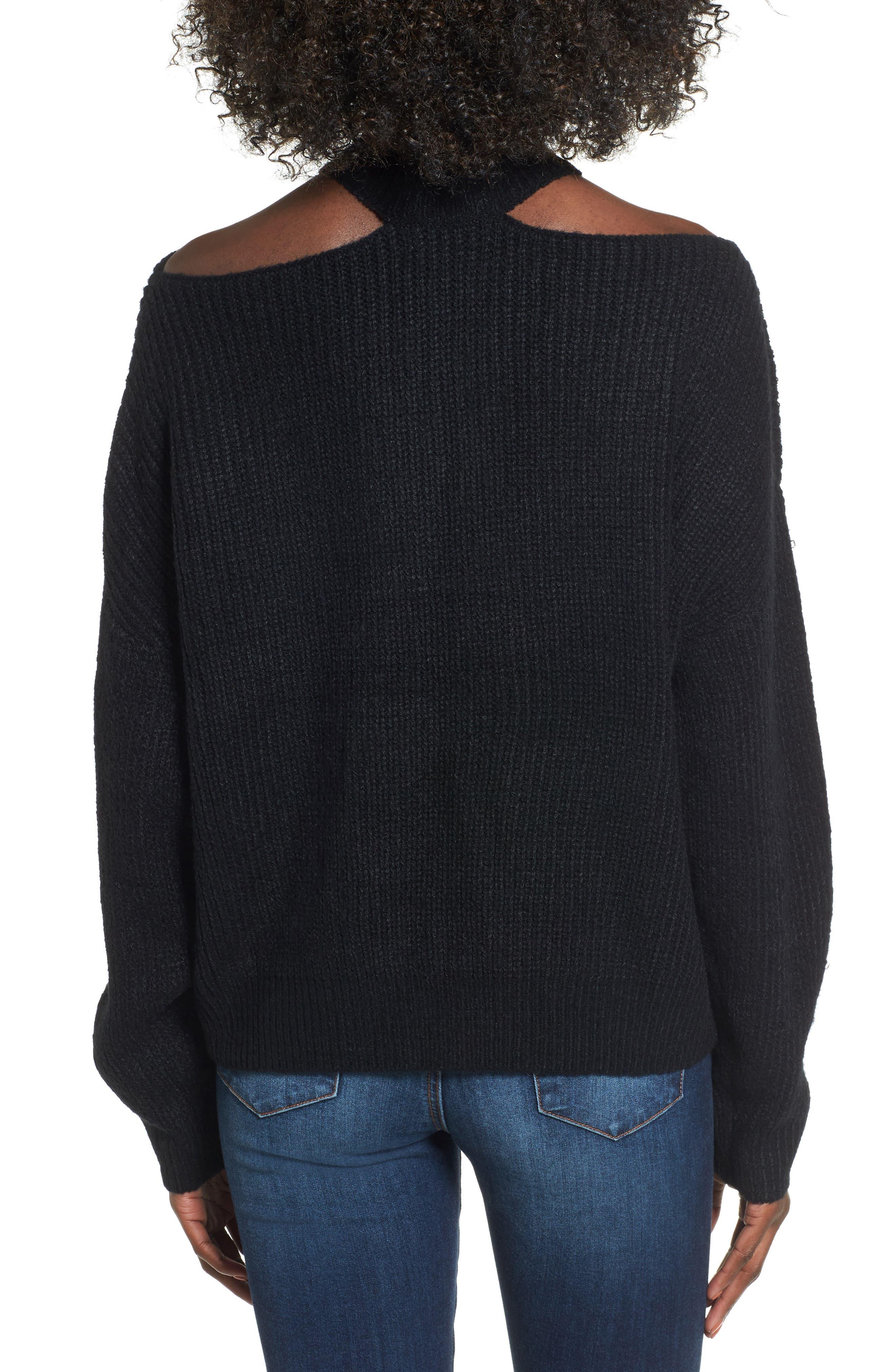 Cutout Turtleneck Sweater,                             Alternate thumbnail 2, color,                             001