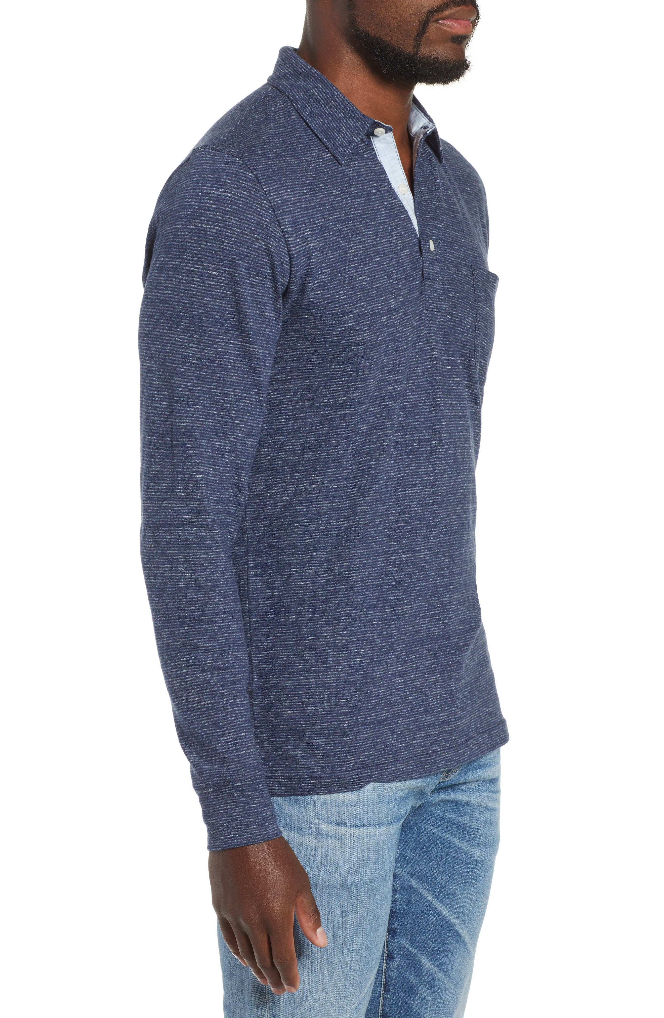 Luxe Heather Long Sleeve Polo,                             Alternate thumbnail 3, color,                             NAVY STRIPE