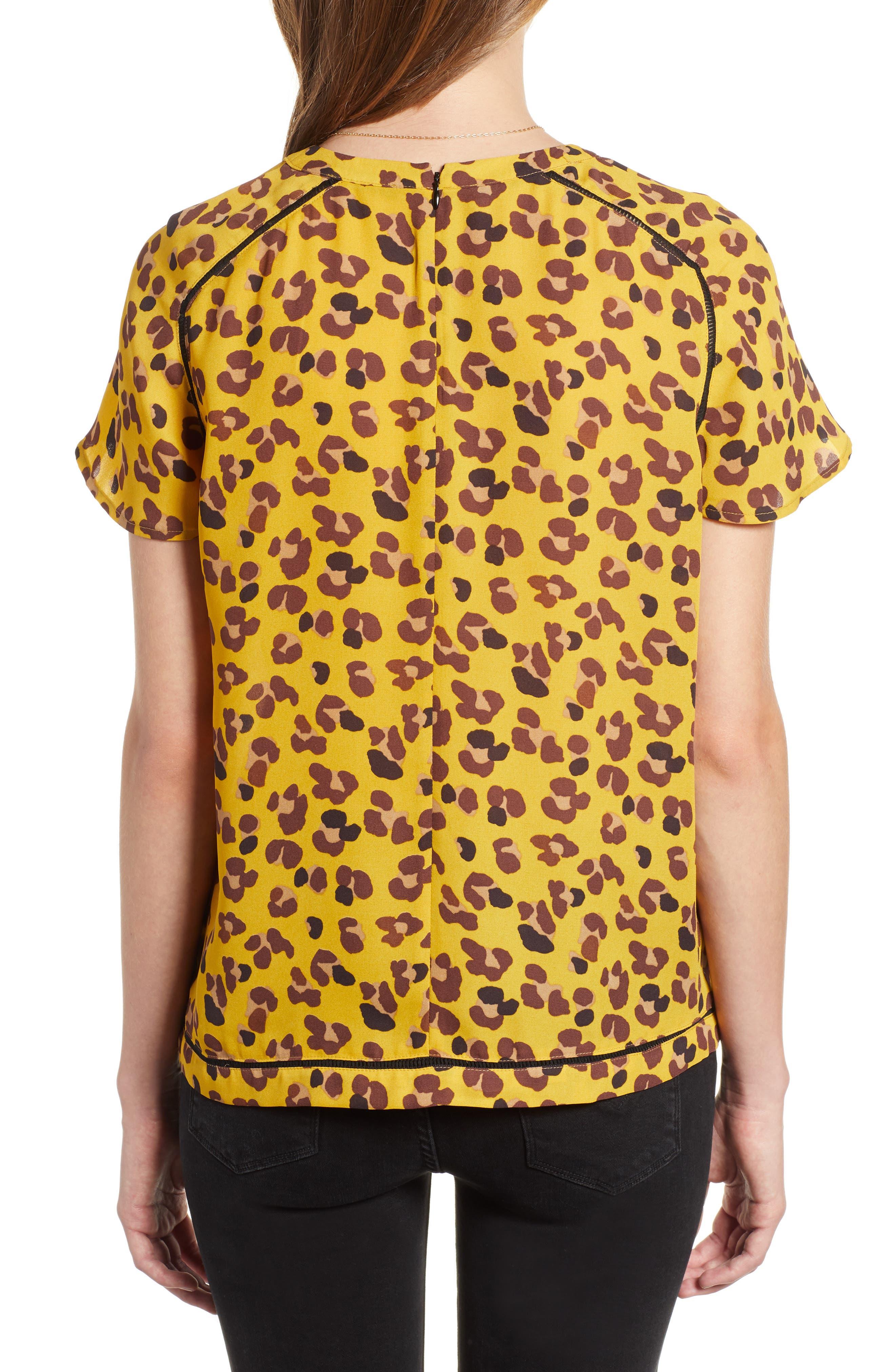 Leopard Print Top,                             Alternate thumbnail 2, color,                             YELLOW LEOPARD PRINT