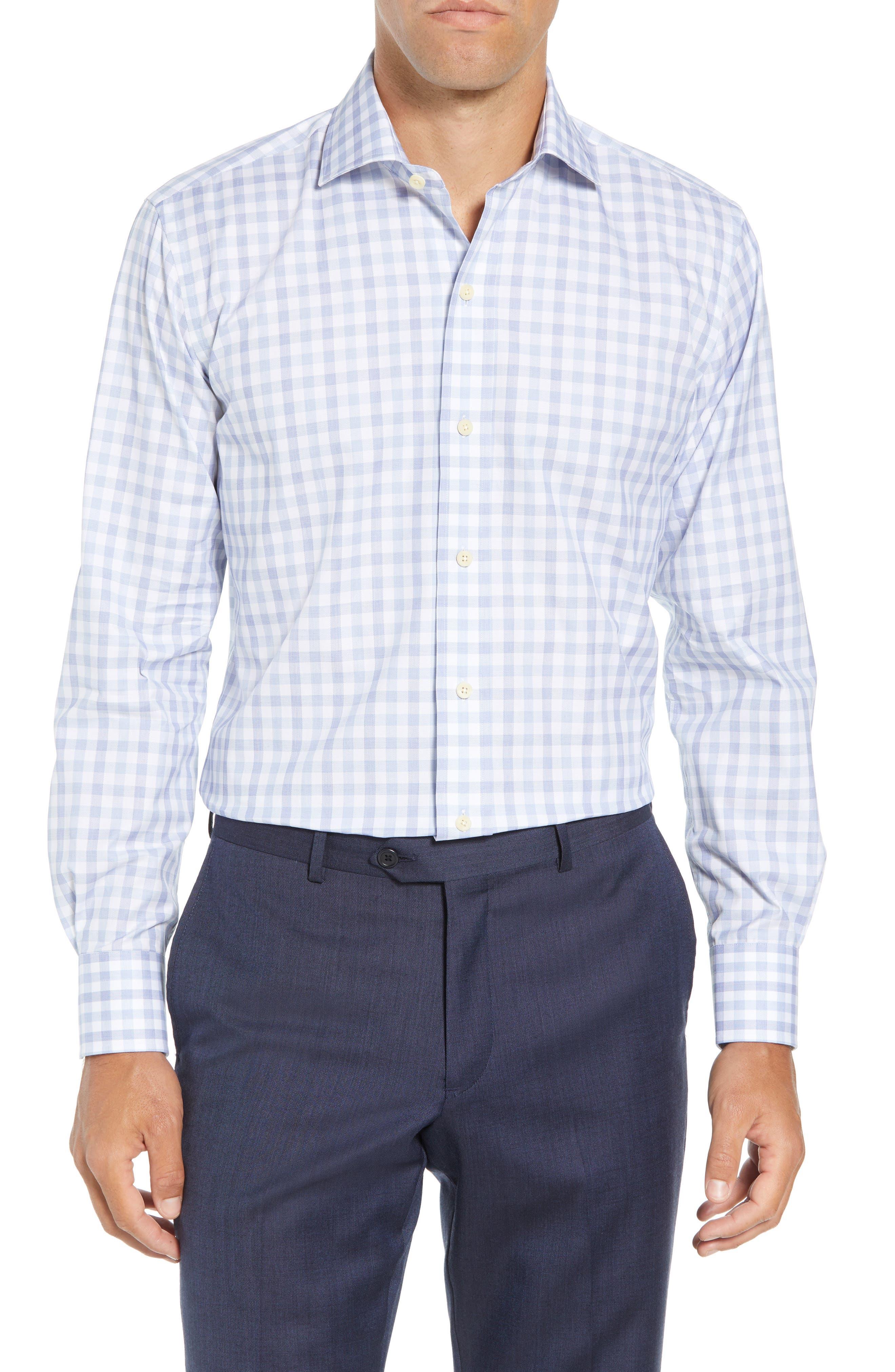 Corbly Trim Fit Check Dress Shirt,                             Main thumbnail 1, color,                             LIGHT BLUE