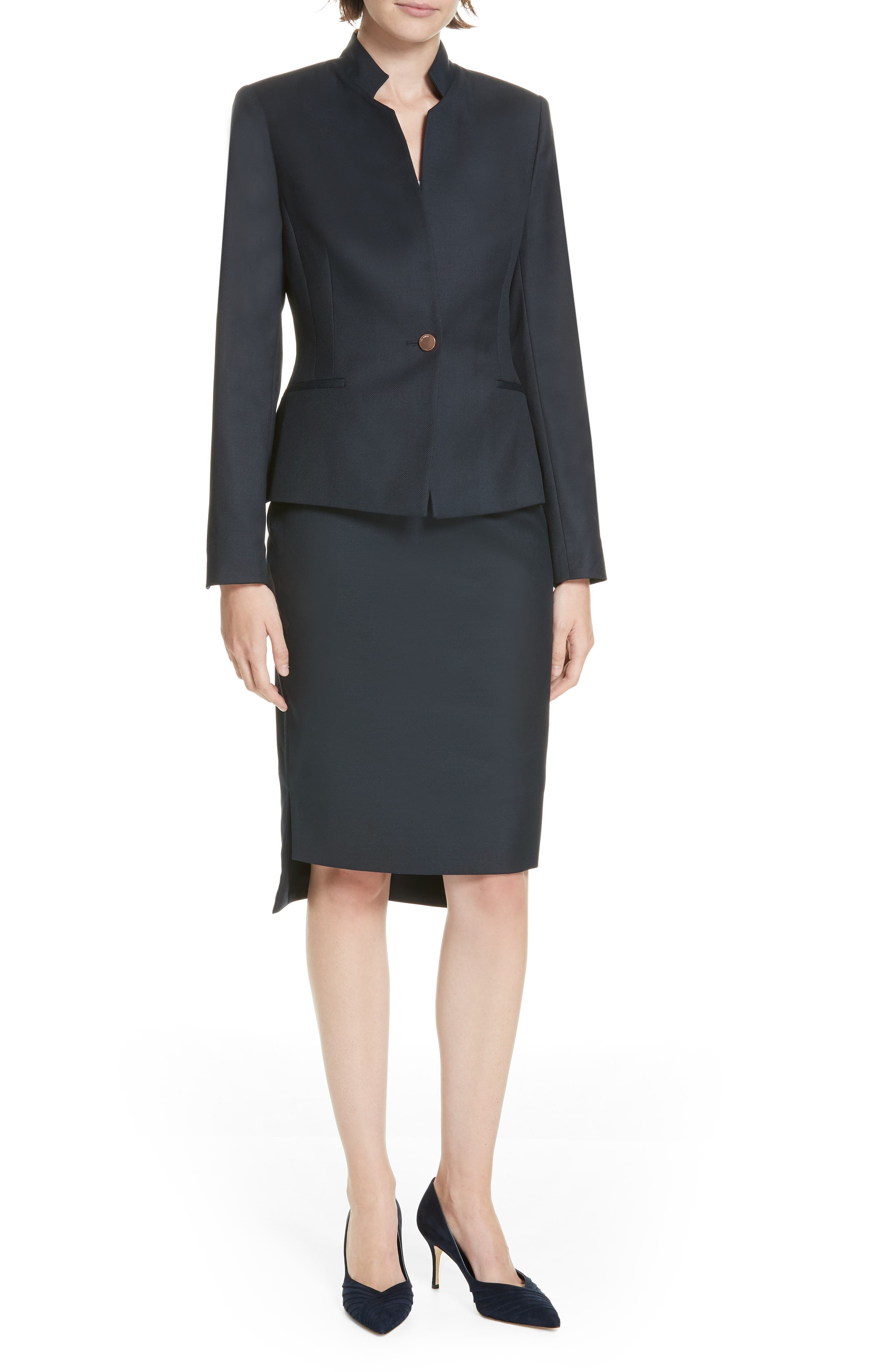 Ted Working Title Rivaas Pencil Skirt,                             Alternate thumbnail 7, color,                             DARK BLUE