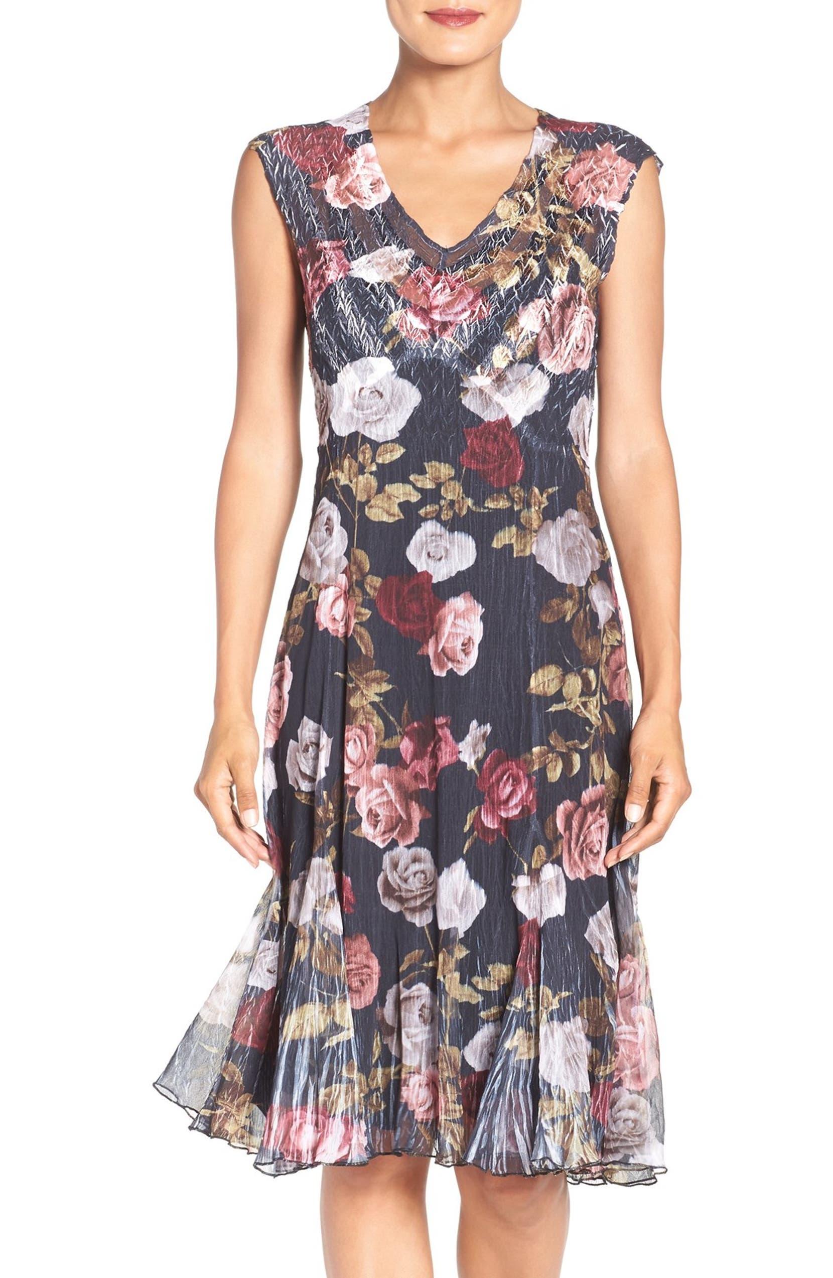 Komarov Floral Print Chiffon A-Line Dress (Regular   Petite)  adb60267a