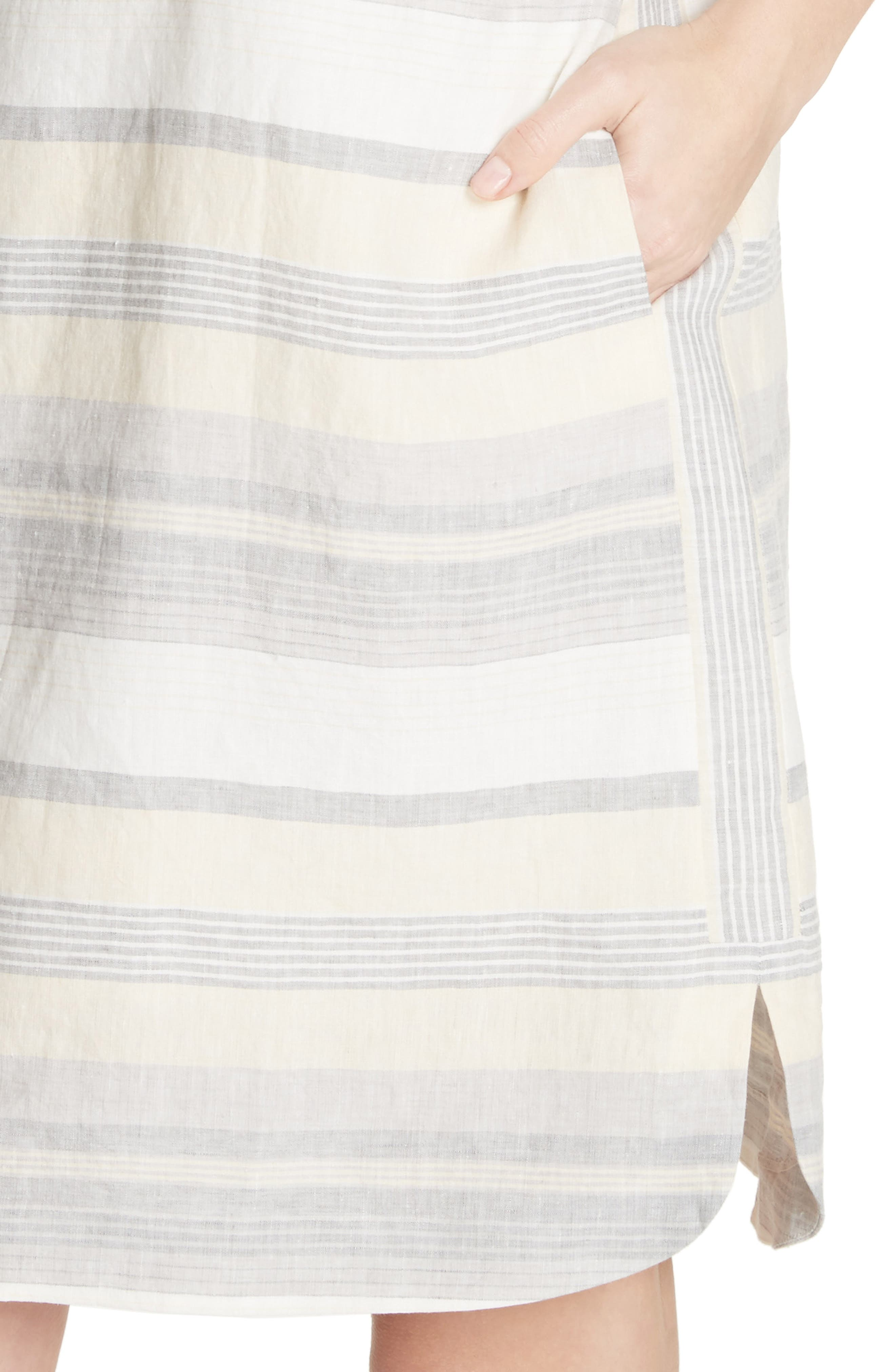 Lydia Stripe Linen Dress,                             Alternate thumbnail 4, color,                             251
