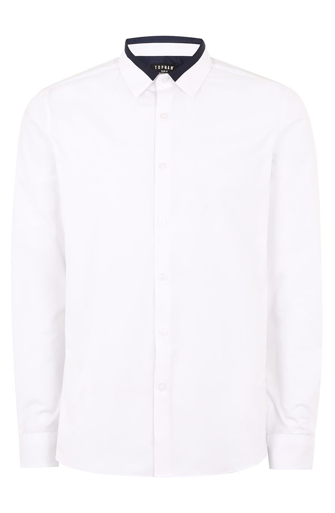 Slim Fit Panel Collar Shirt,                             Alternate thumbnail 4, color,                             100
