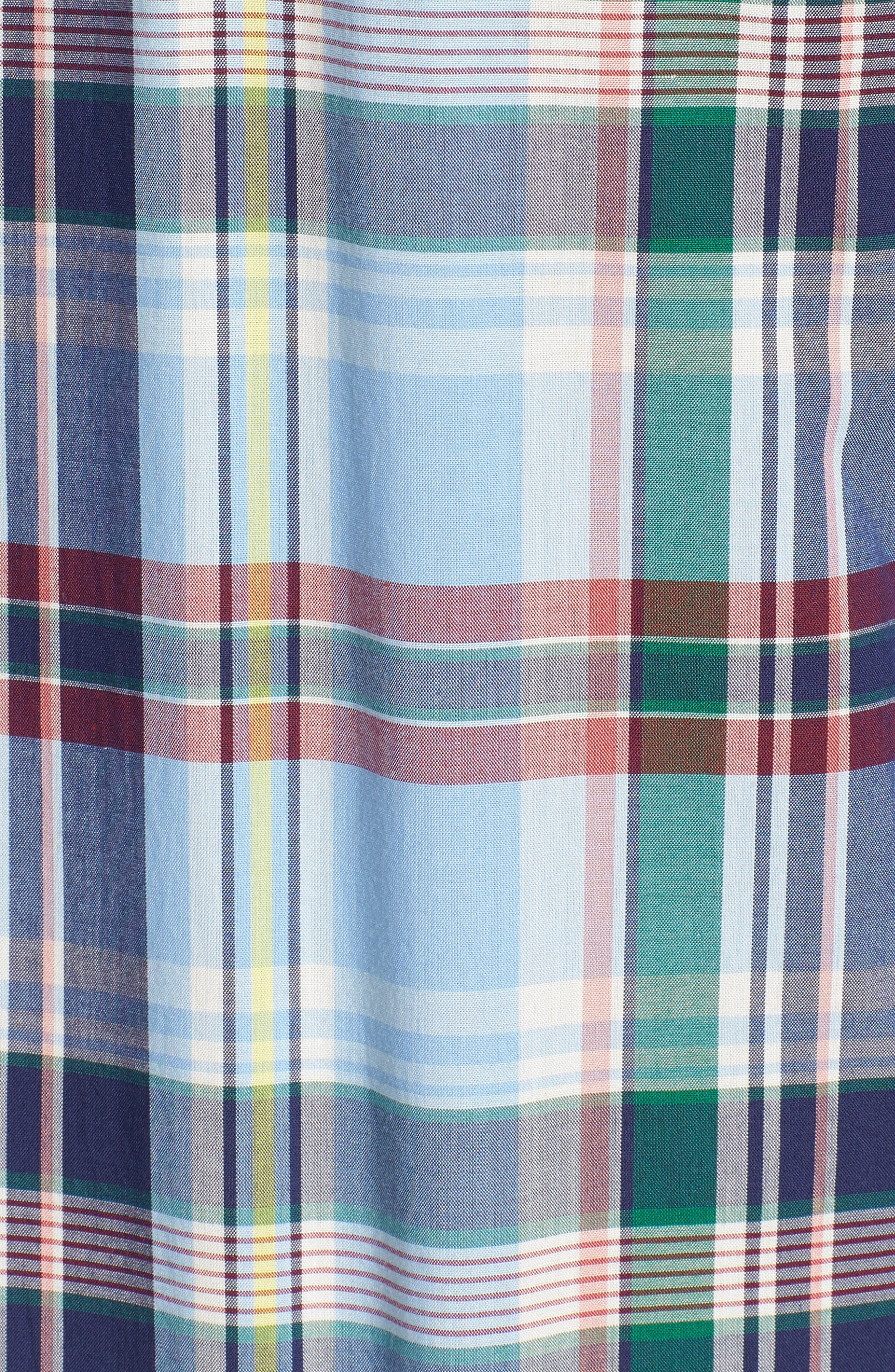 Jeff Trim Fit Plaid Sport Shirt,                             Alternate thumbnail 5, color,                             450