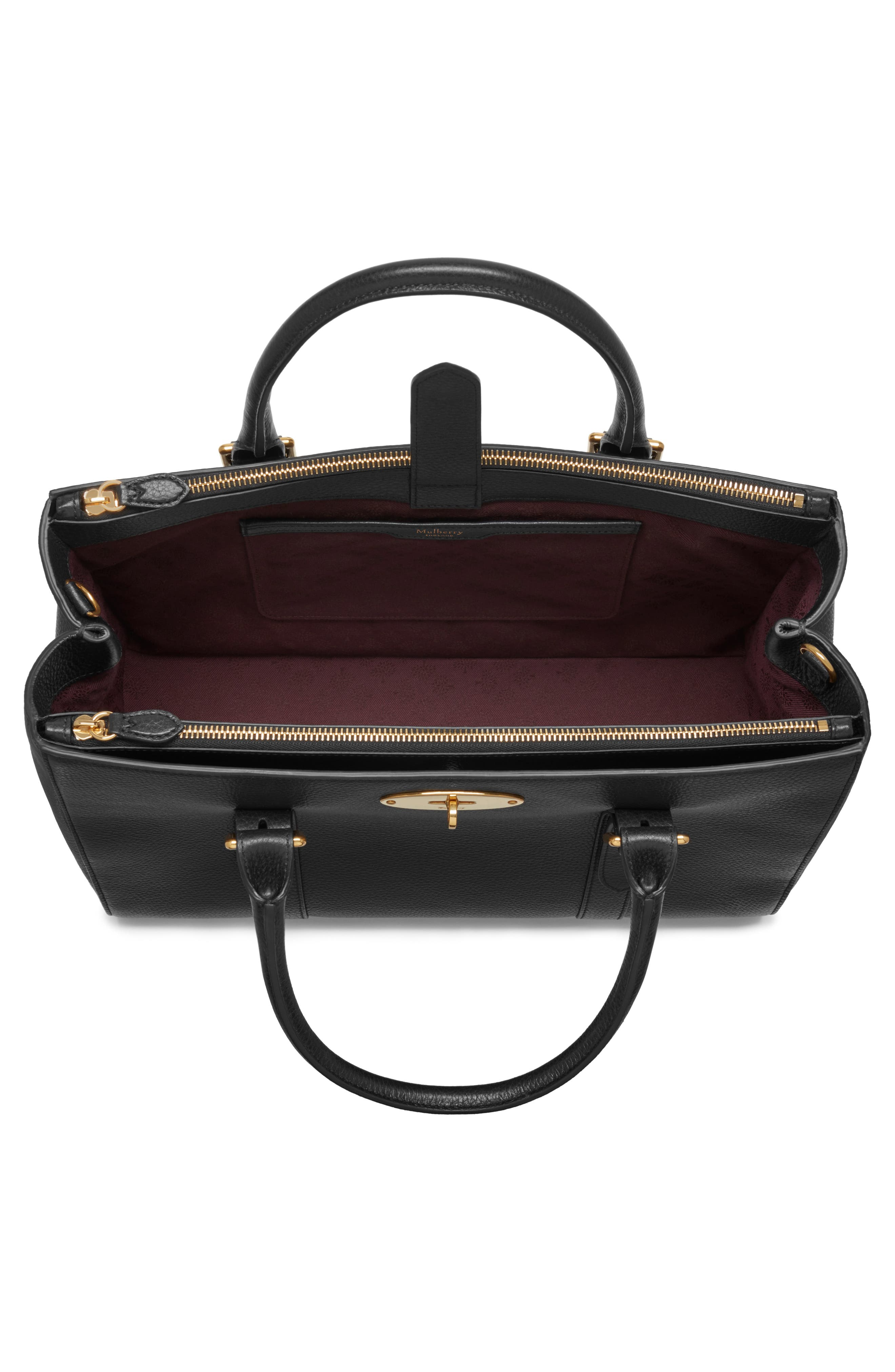Bayswater Double Zip Leather Satchel,                             Alternate thumbnail 3, color,                             001