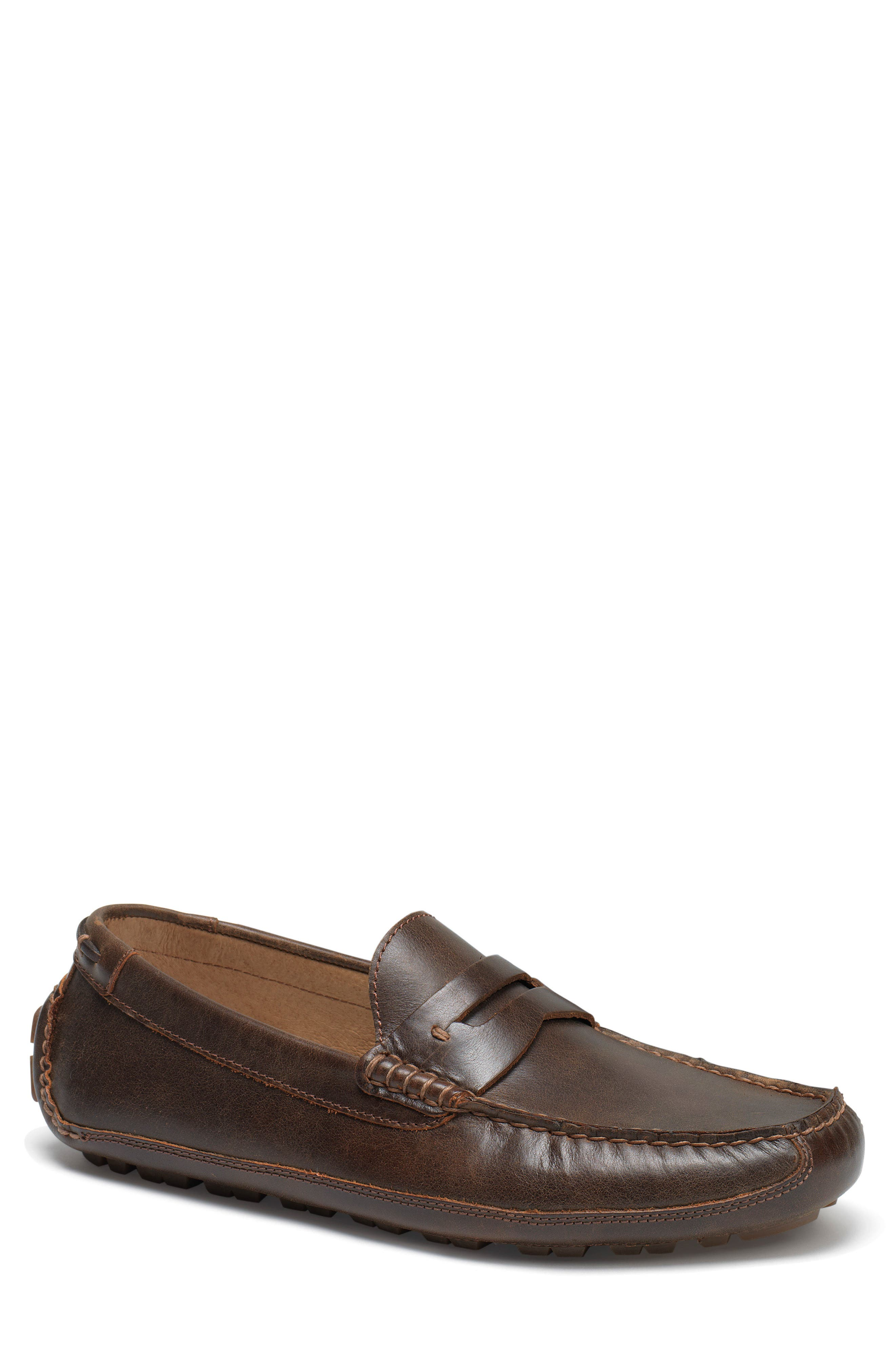 Dawson Water Resistant Driving Loafer,                             Main thumbnail 1, color,                             DARK BROWN LEATHER