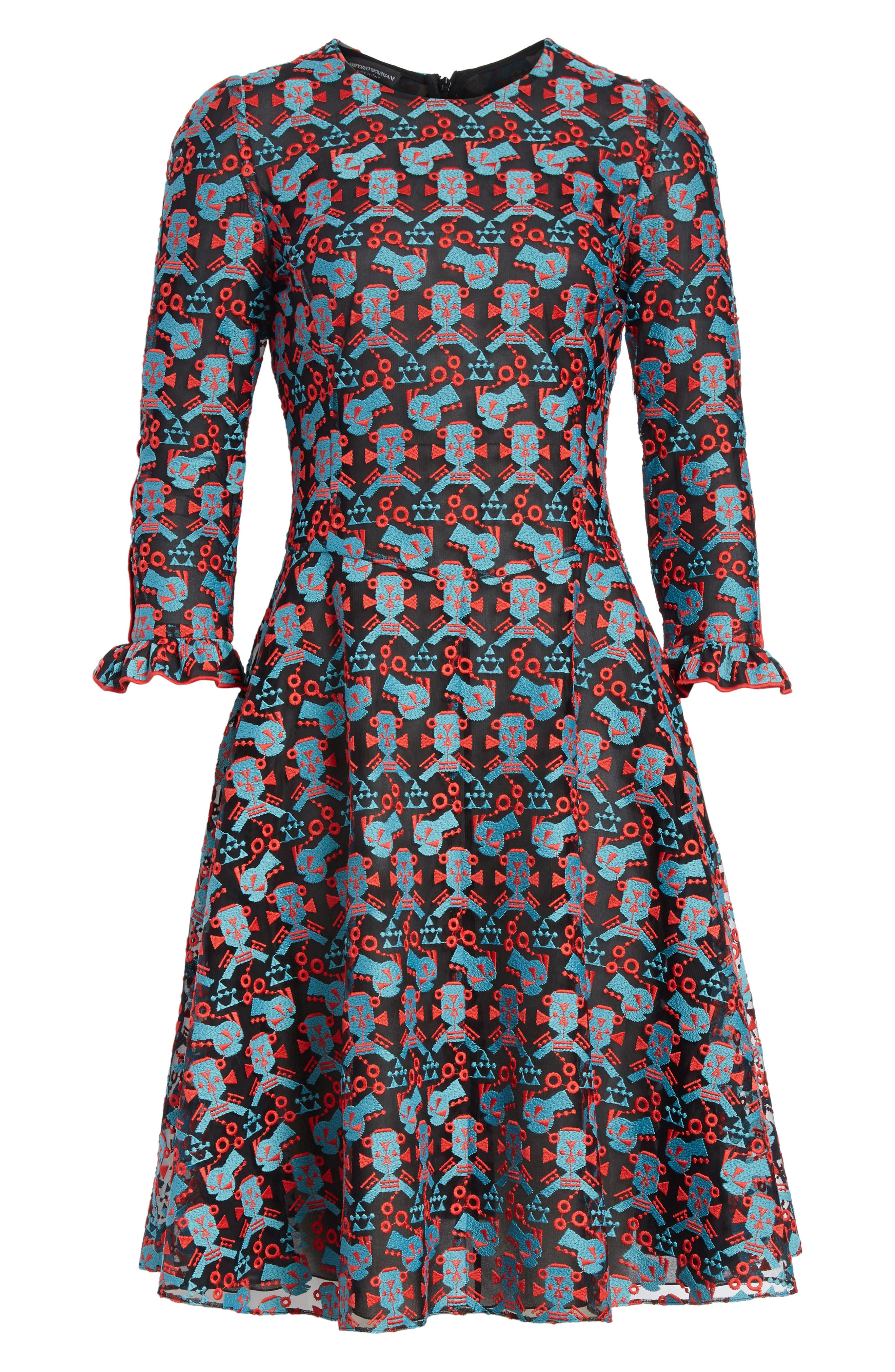 Embroidered Fit & Flare Dress,                             Alternate thumbnail 6, color,                             606