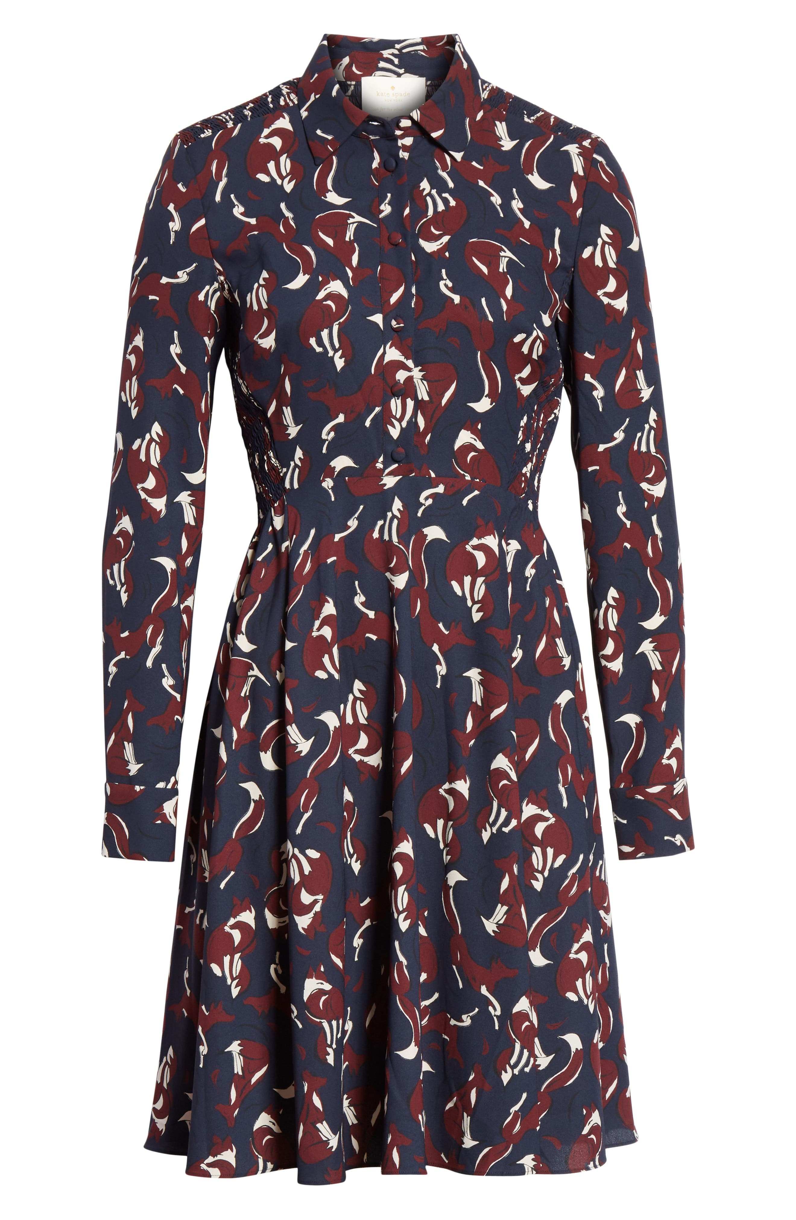 KATE SPADE NEW YORK,                             foxes smocked shirtdress,                             Alternate thumbnail 6, color,                             426