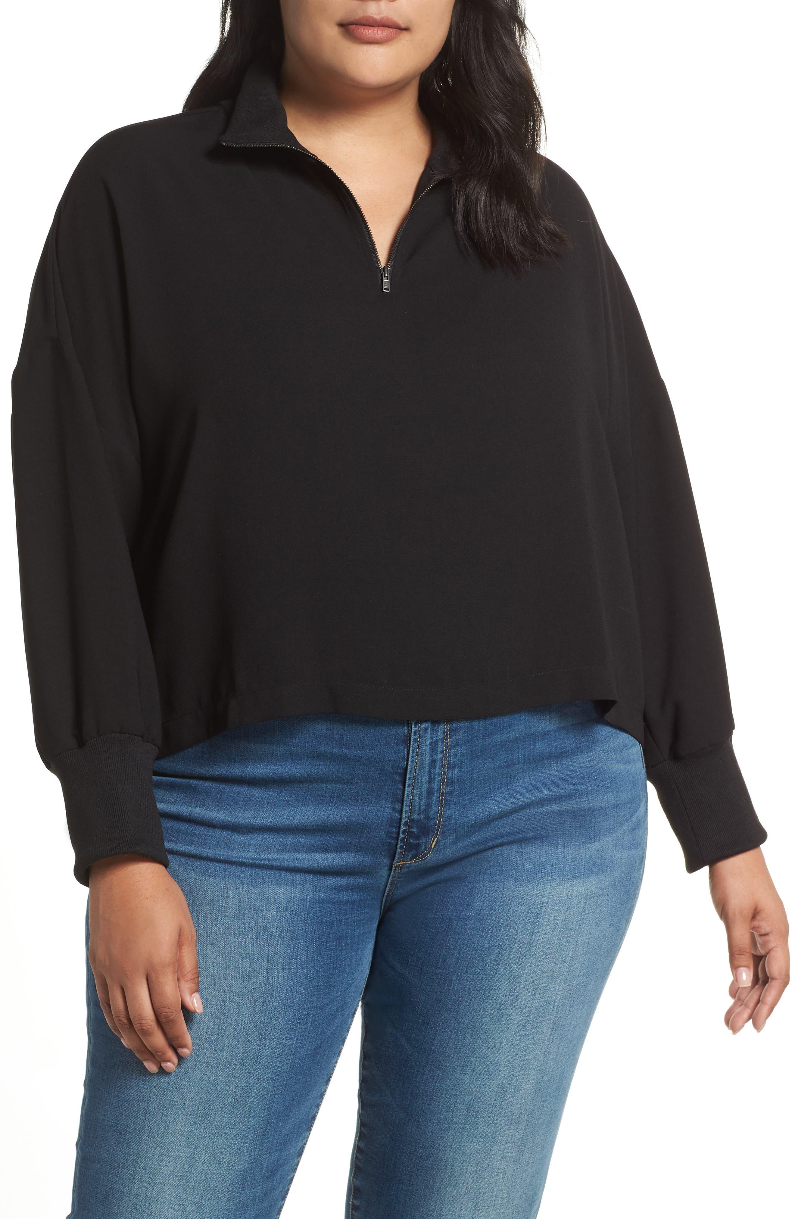 Plus Size Bp. Quarter Zip Pullover, Black